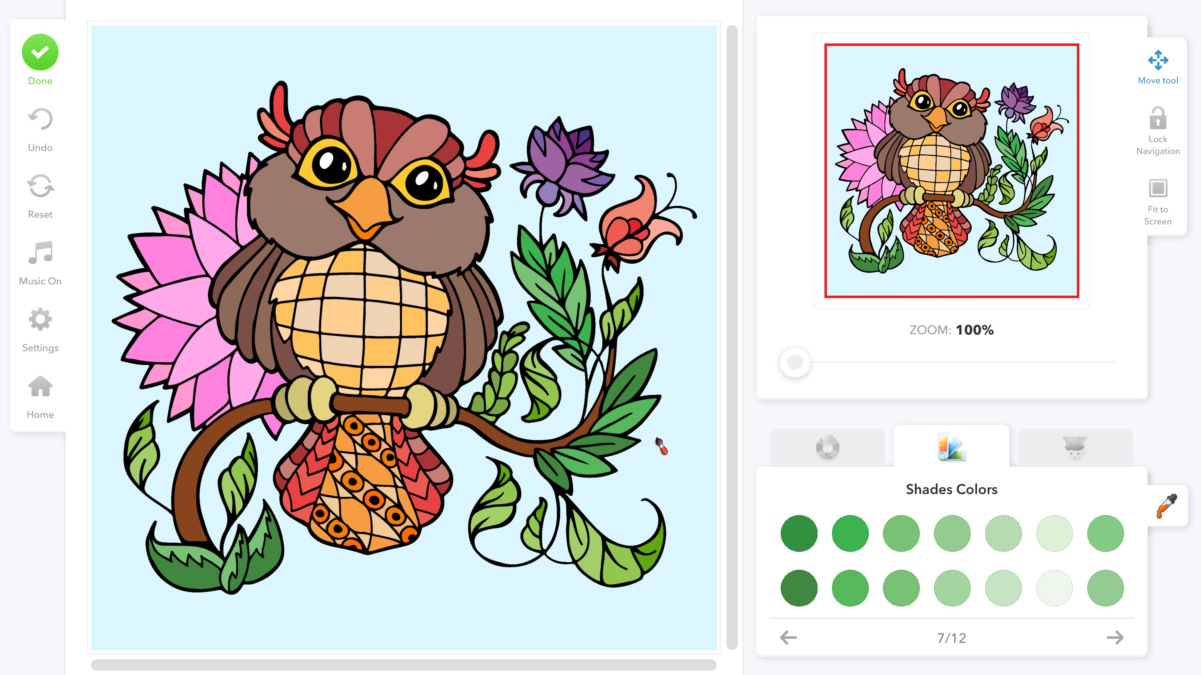 Coloring Book for Adults. A colored drawing of an owl. A shades color palette is visible in the bottom right showing 14 shades of green.