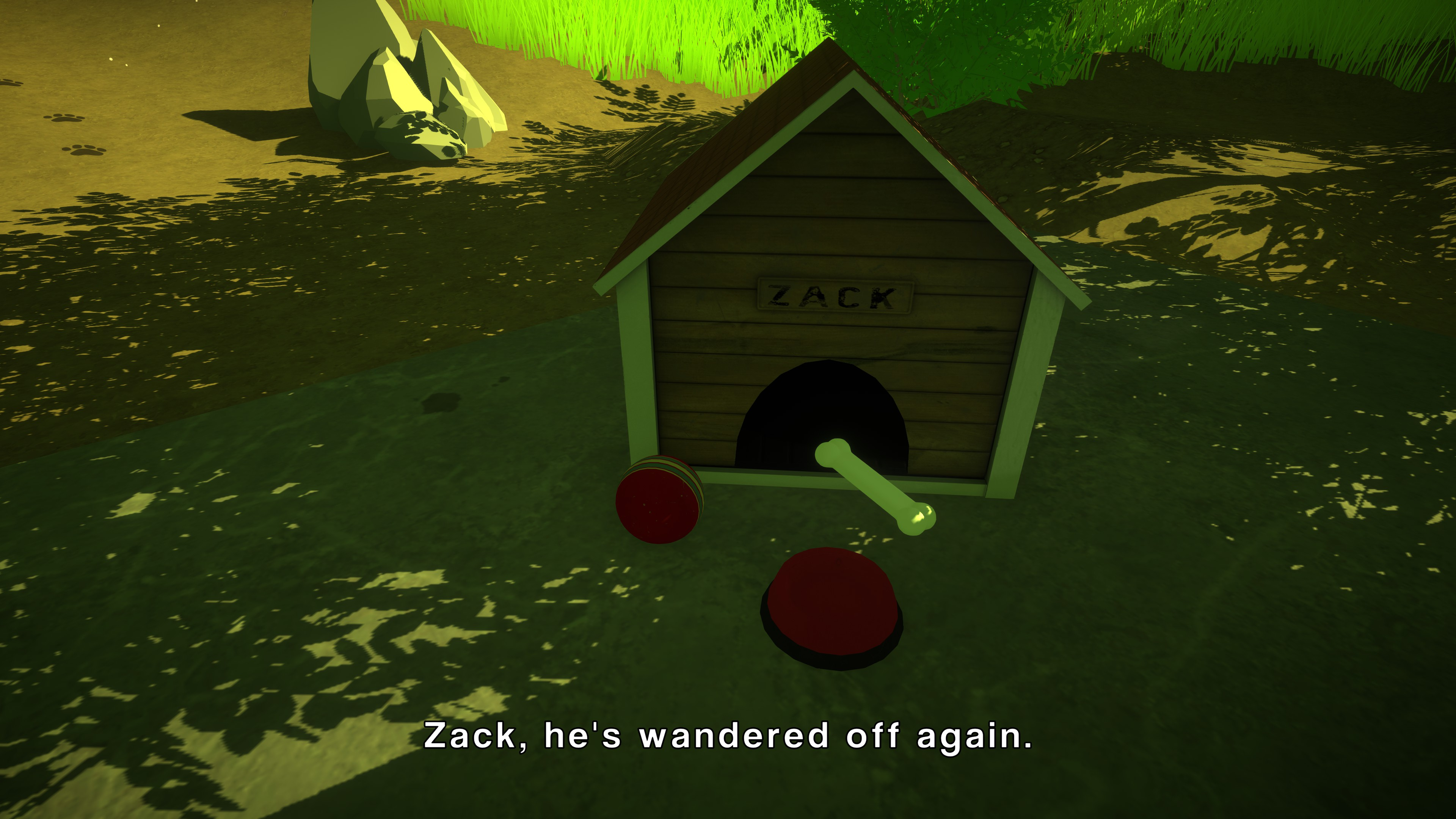 The First Friend. View of an empty doghouse with subtitles saying 'Zack, he's wandered off again'