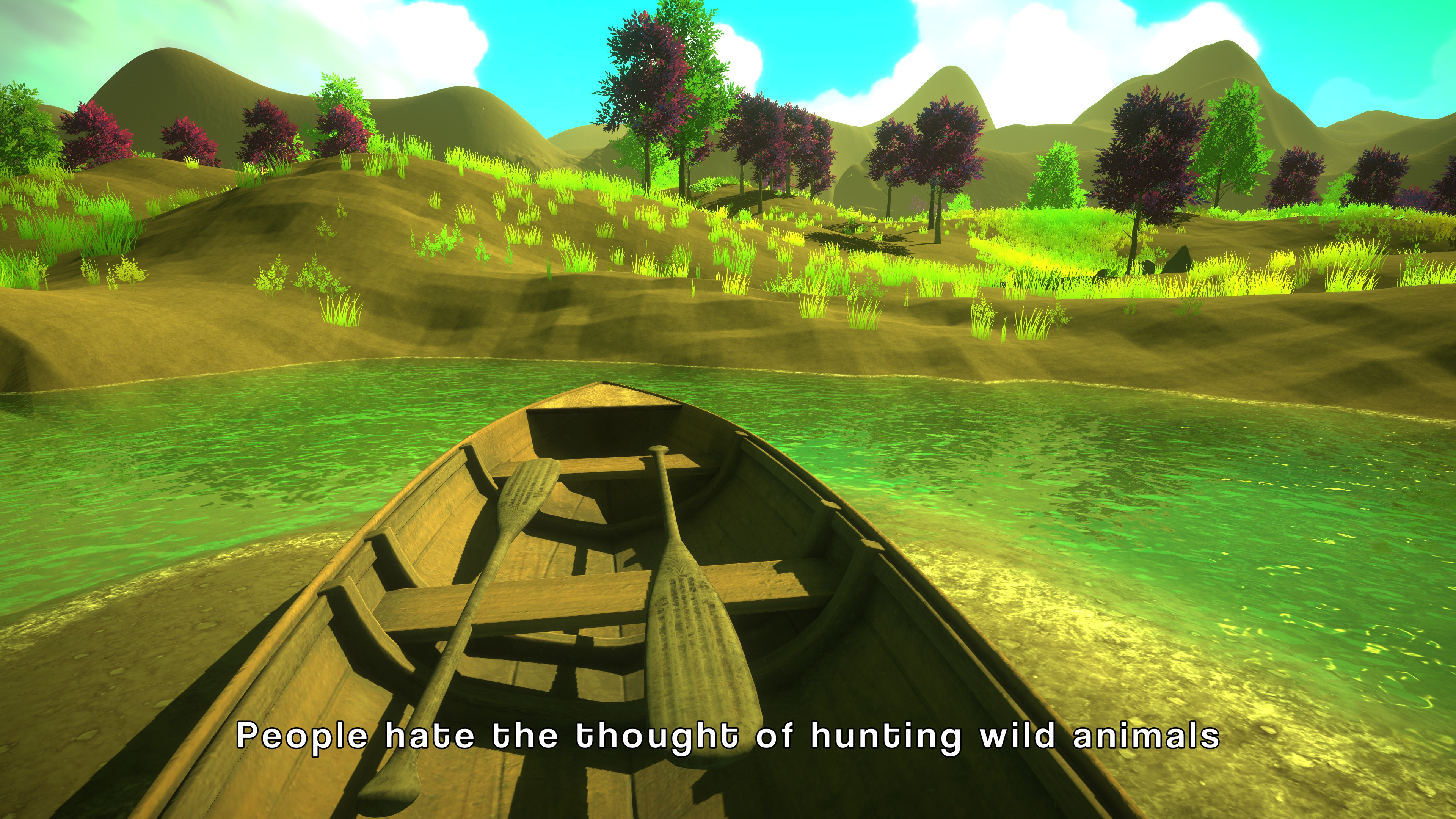 The First Friend. View from inside a beached rowboat. Subtitles say 'People hate the thought of hunting wild animals'.