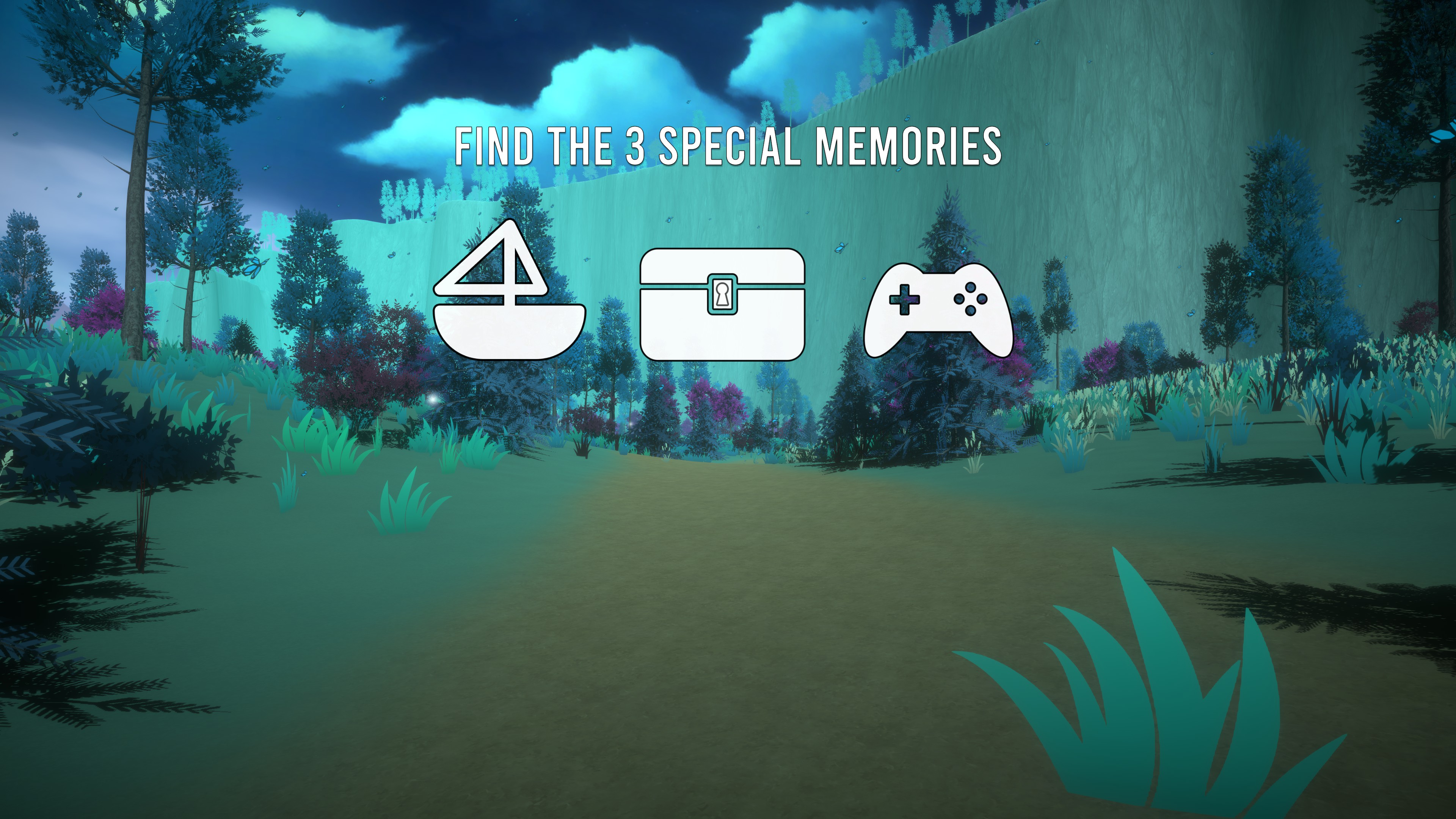The First Friend. Instructions to find 3 memories related to a boat, chest, and game controller.