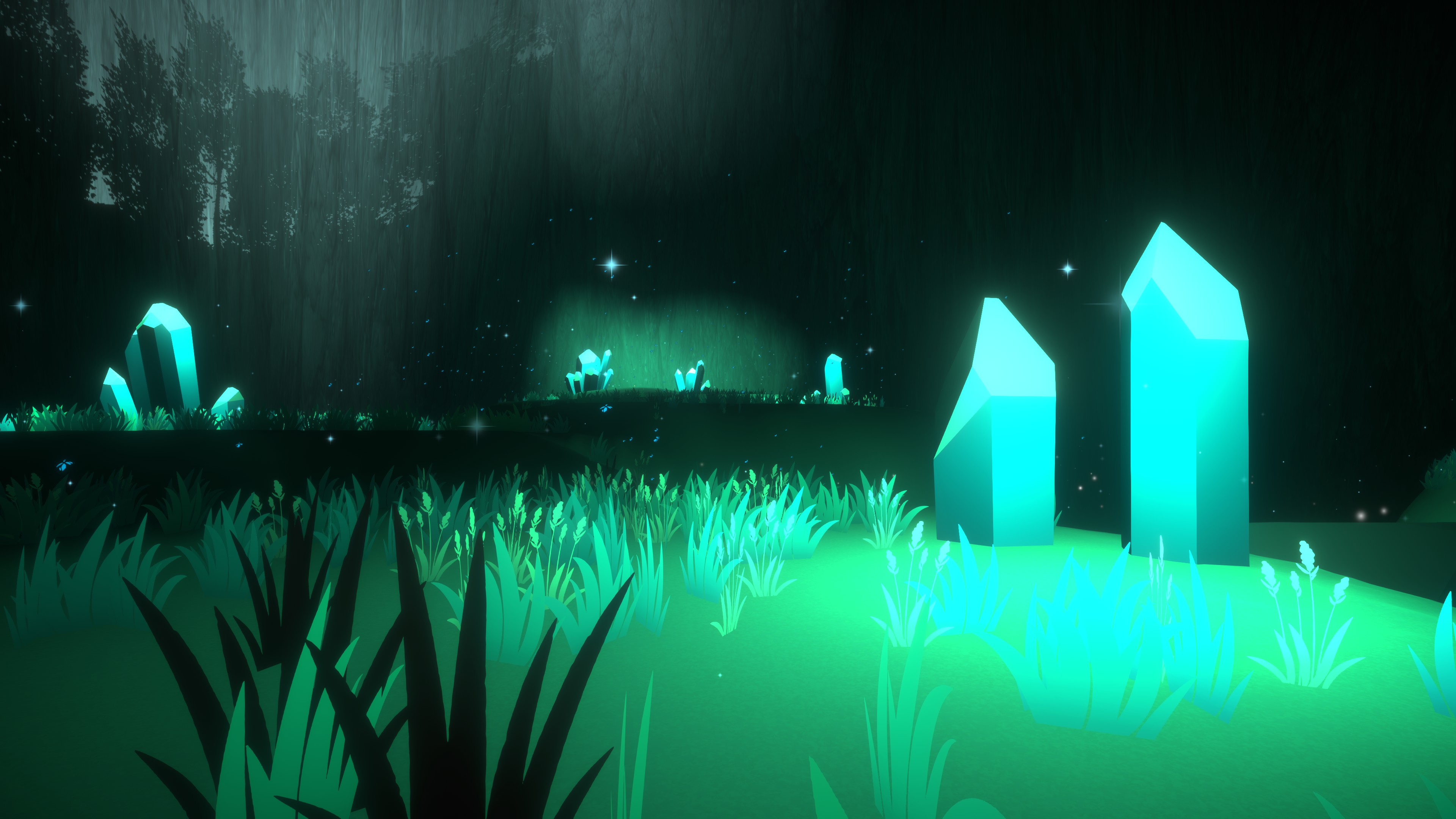 The First Friend. Large glowing crystals amidst grass with the shadow of trees being cast on a cliff in the background.