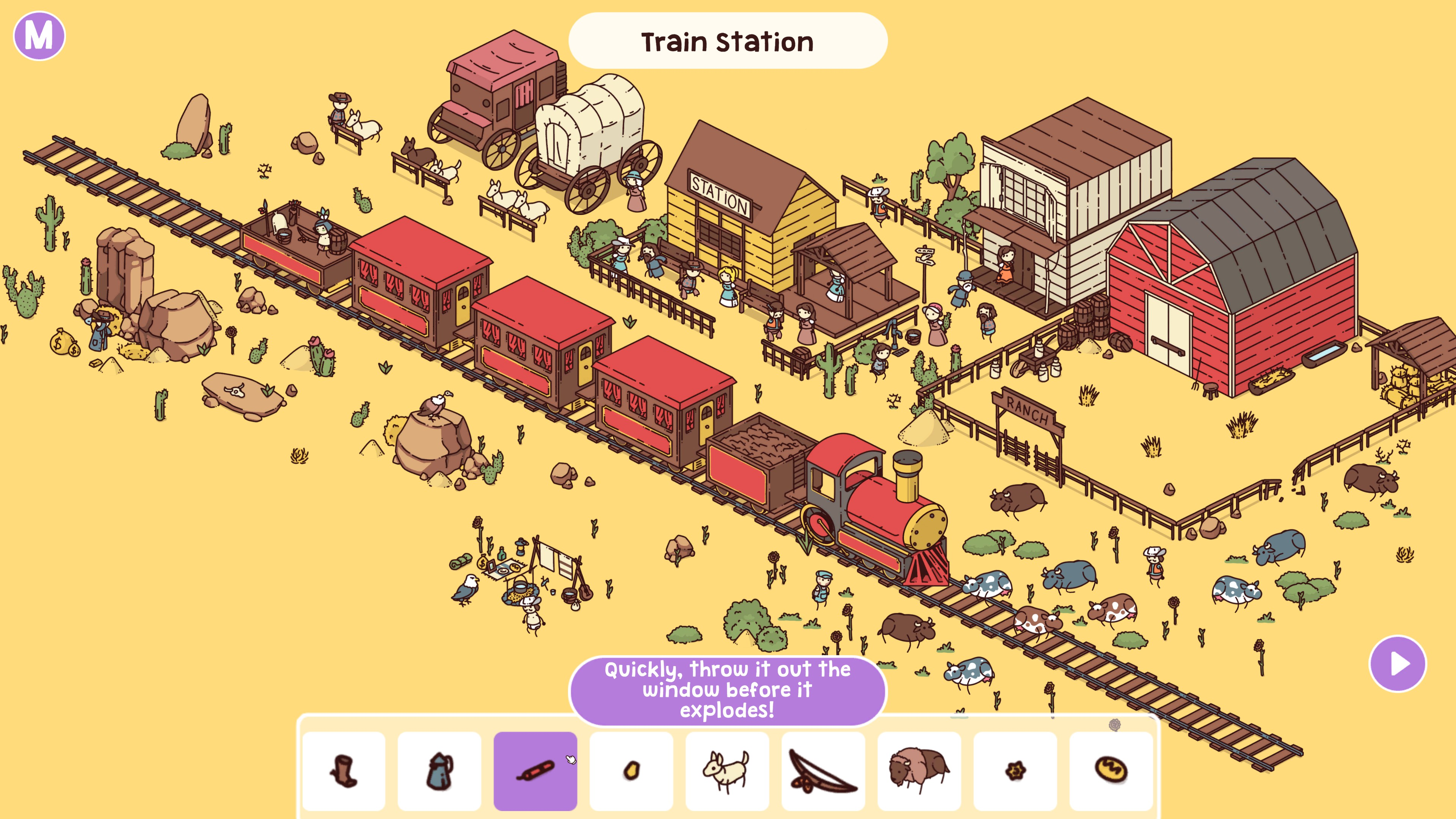 Hidden Through Time. Train station themed level set in the wild west. There are 9 items to fine. The dynamite is being hovered and gives the clue 'quickly, throw it out the window before it explodes!'