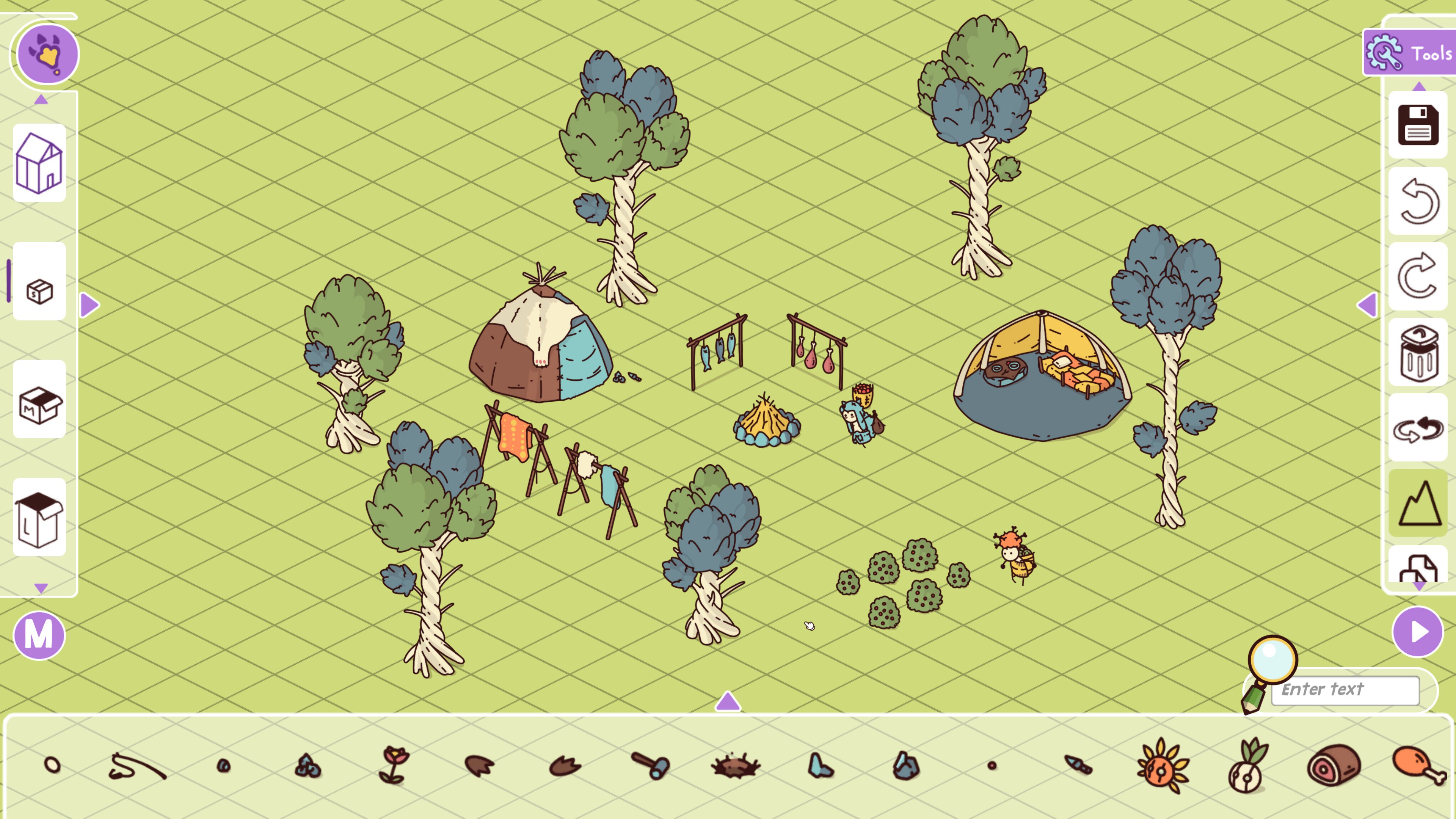Hidden Through Time. Simple stone-age level with two people and two tents around a fire. Menus for adding items and a grid across the level are visible.