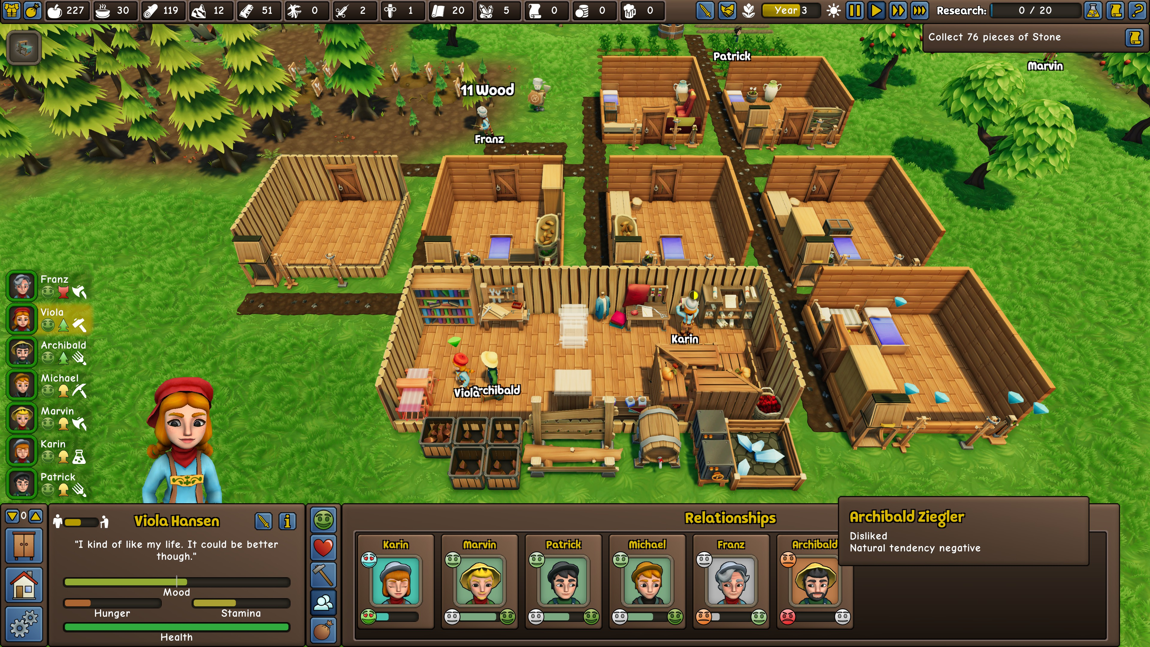 Founder's Fortune. Viewing a 7 person colony in the springtime. Colonist Viola Hansen is currently selected and her relationships with the other colonists are displayed. Including her natural tendency to dislike colonist Archibald Ziegler.