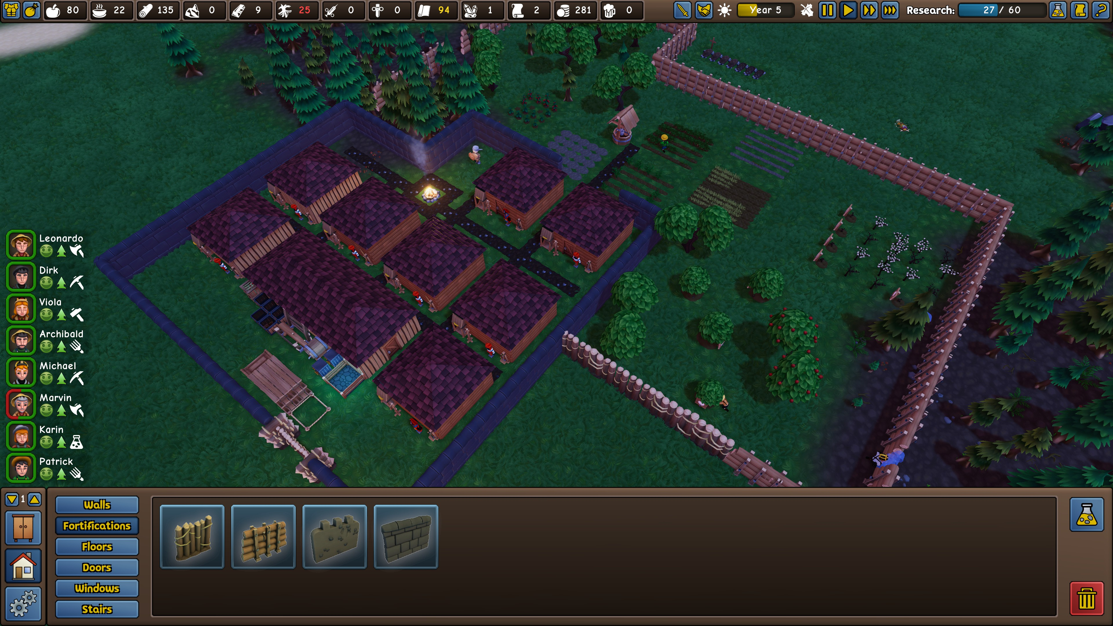 Founder's Fortune. A nighttime overview of a walled-in base with 9 rectangular buildings, 7 growing areas, and two orchards. Building options include walls, fortifications, floors, doors, windows, and stairs.