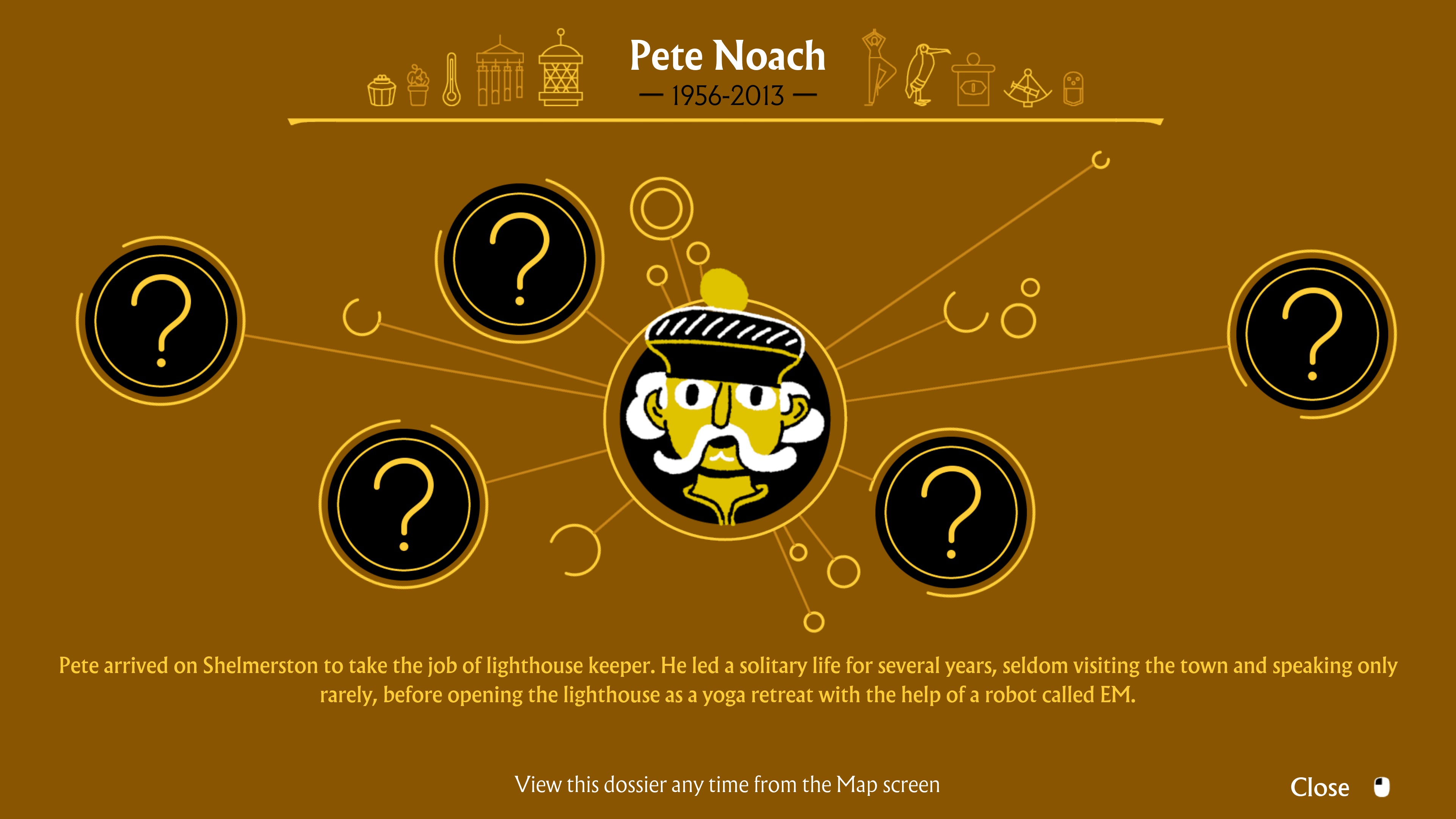 I Am Dead. Memories of Pete Noach 1956-2013. Pete arrived on Shelmerston to take the job of lighthouse keeper. He led a solitary life for several years, seldom visiting the town and speaking only rarely, before opening the lighthouse as a yoga retreat with the help of a robot called EM.