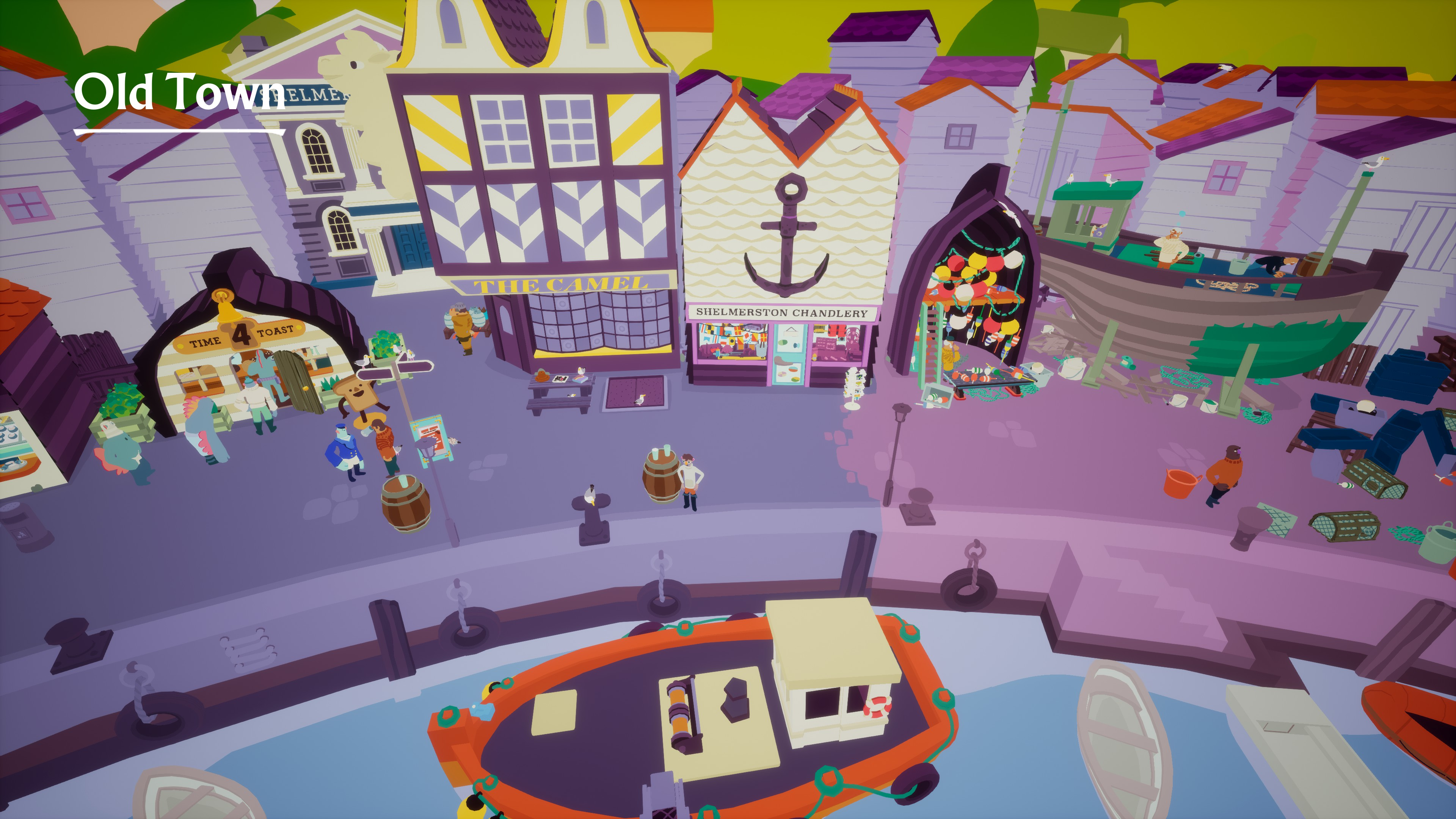 I Am Dead. A harbor called Old Town showing a number of shops and people along a pier.