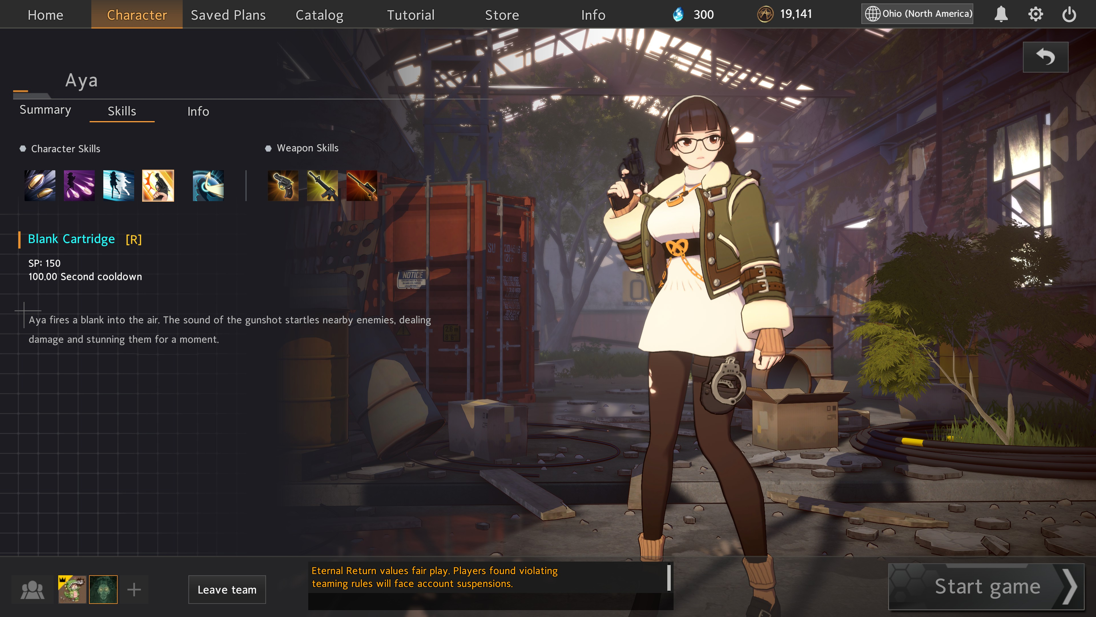 Eternal Return  Black Survival. Preview of Aya, a young police officer shown wielding a pistol. Information on her ultimate ability is displayed, showing it as an AOE stun around her.
