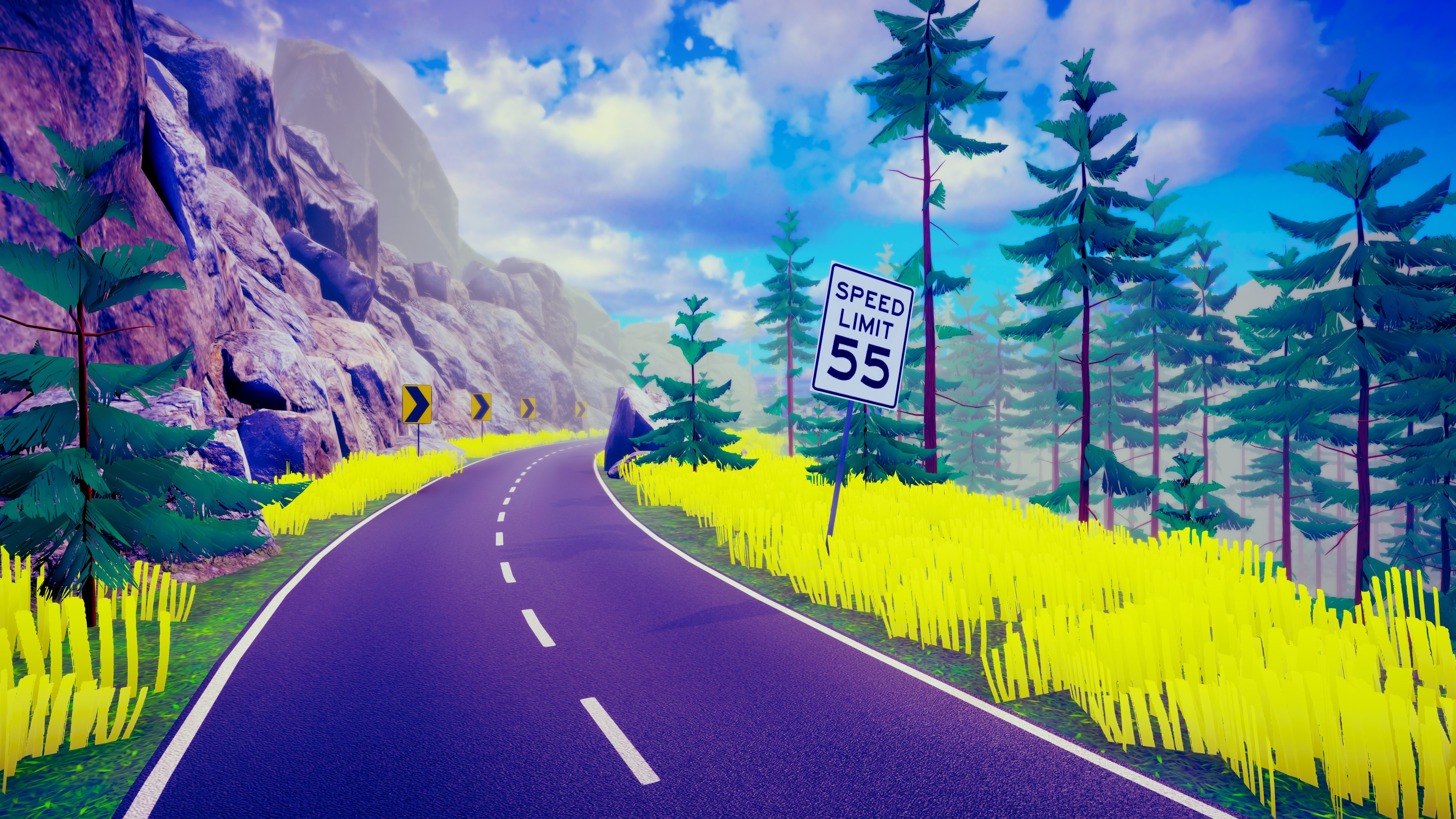 Hike. A two-lane highway through the mountains with a speed limit sign specifying 55 miles per hour