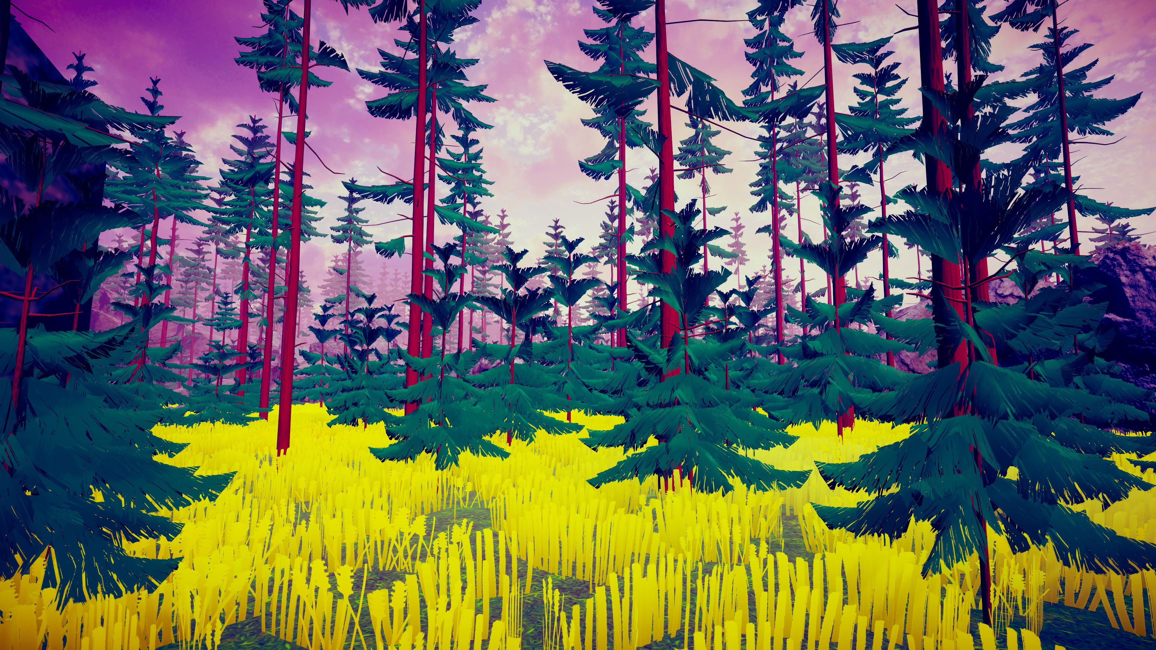 Hike. Forest of trees all made from the same 2 or 3 visual assets