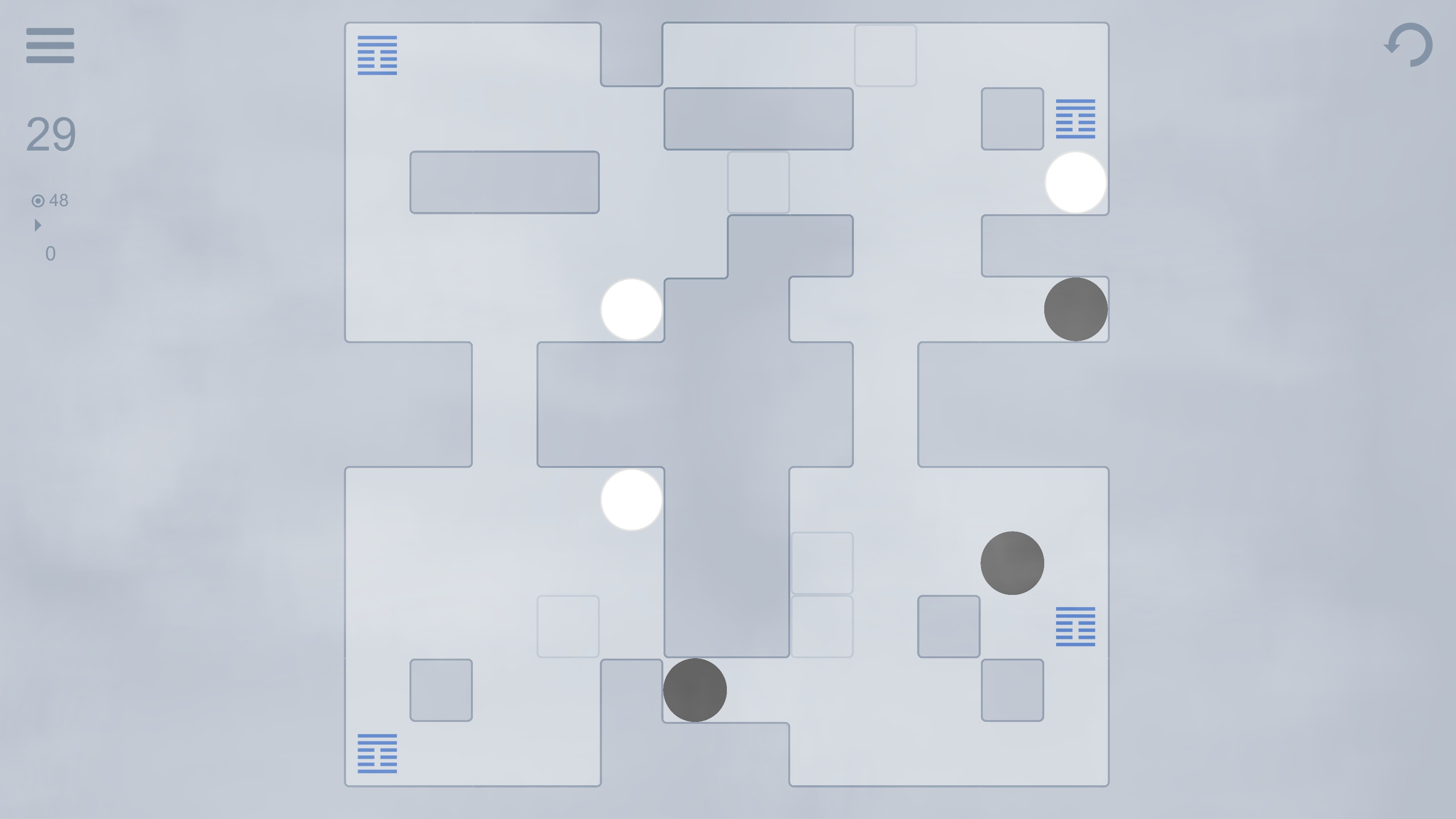 Yin Yang. Level 29 with 3 pieces and toggleable walls. The minimum move count is 48.