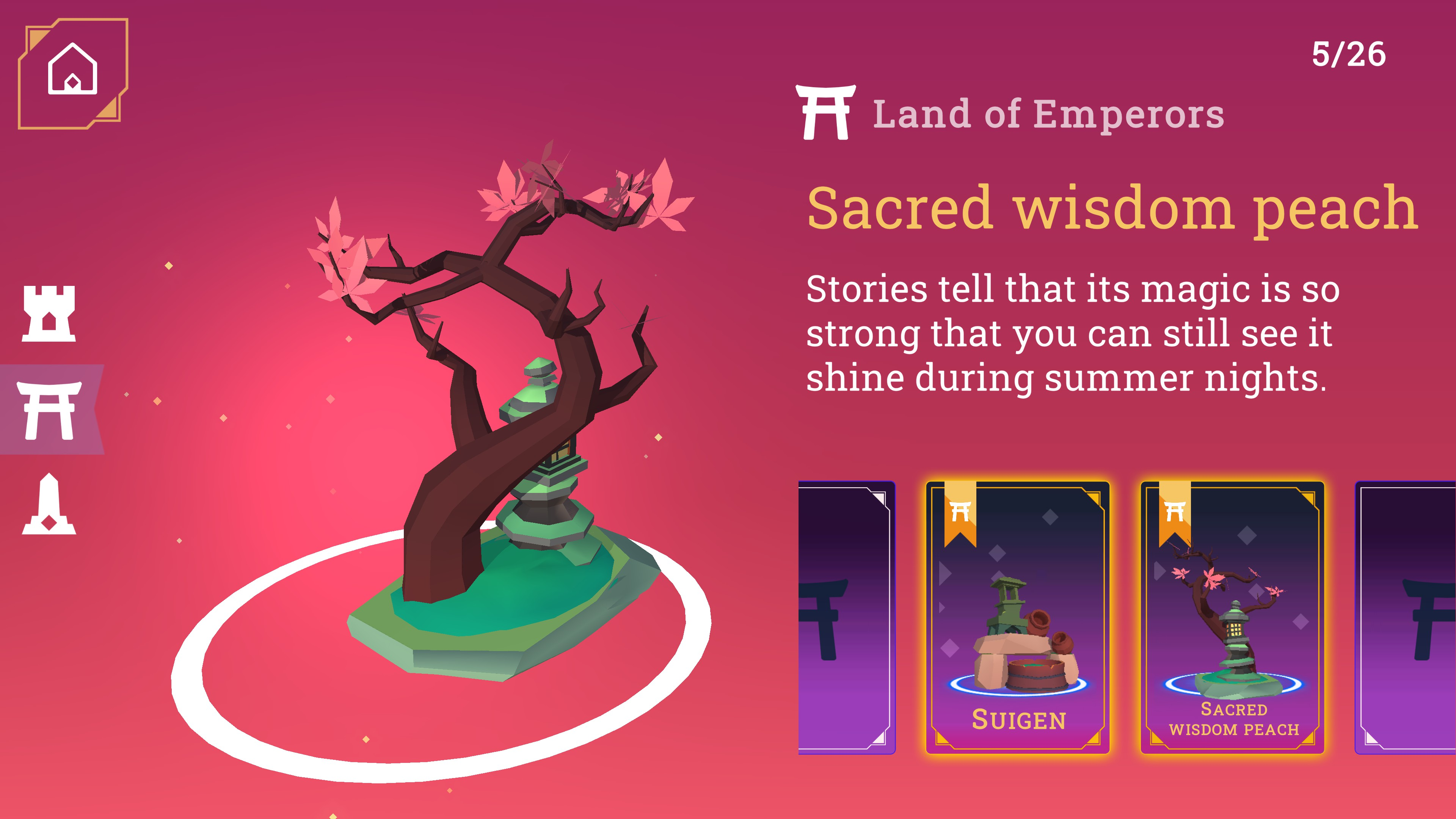 Hidden Lands. Collection view showing the sacred wisdom peach from the land of emperors