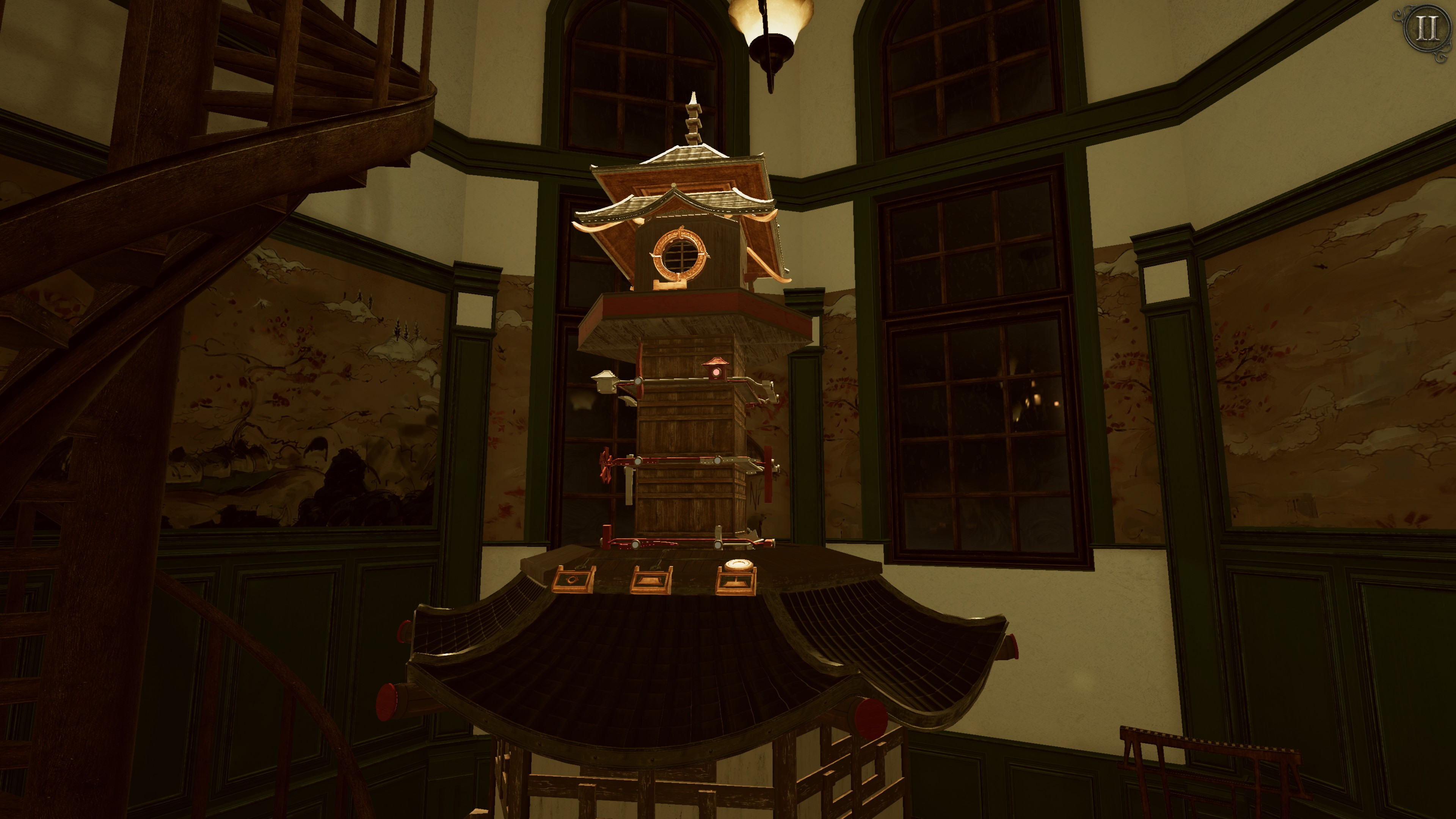 The Room 4  Old Sins. An elongated pagoda tower with a series of metal wires, switches, and levers along its midsection.