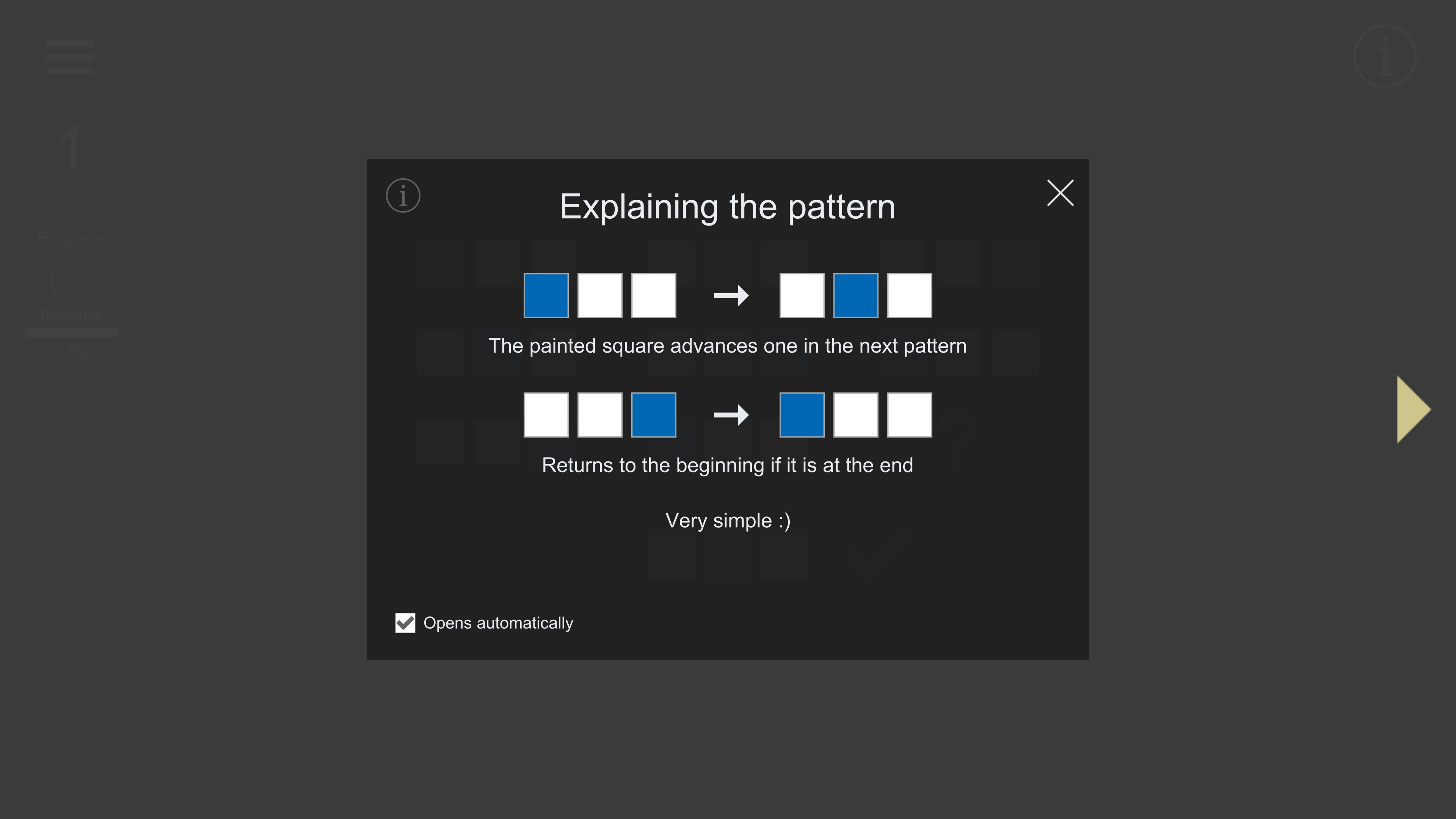 LX Patterns. Explanation of a pattern with moving colored squares.