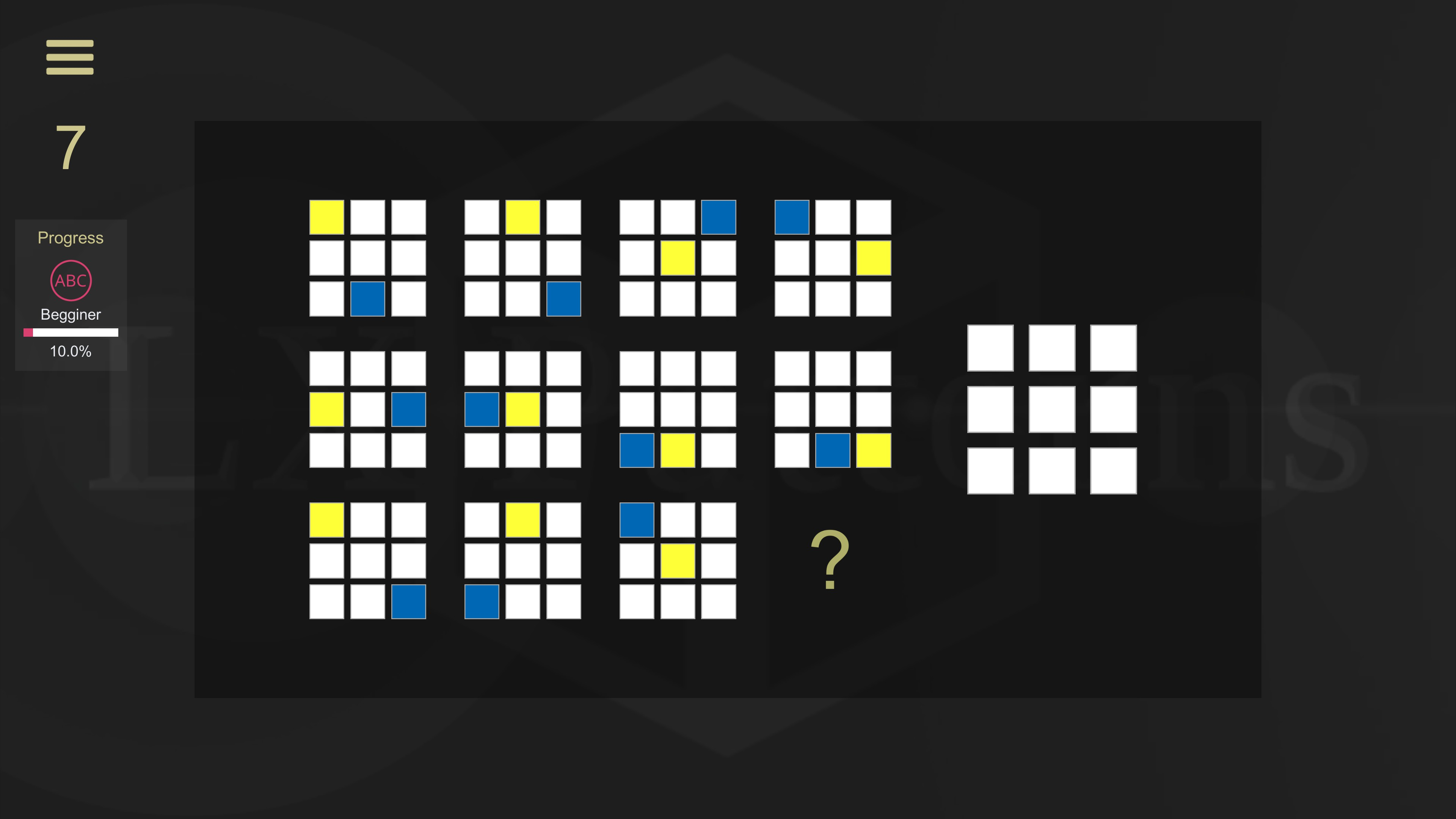 LX Patterns. Level 7 beginner puzzle. 11 3 by 3 grids of color squares are shown. The player must provide what the 12th grid would be.