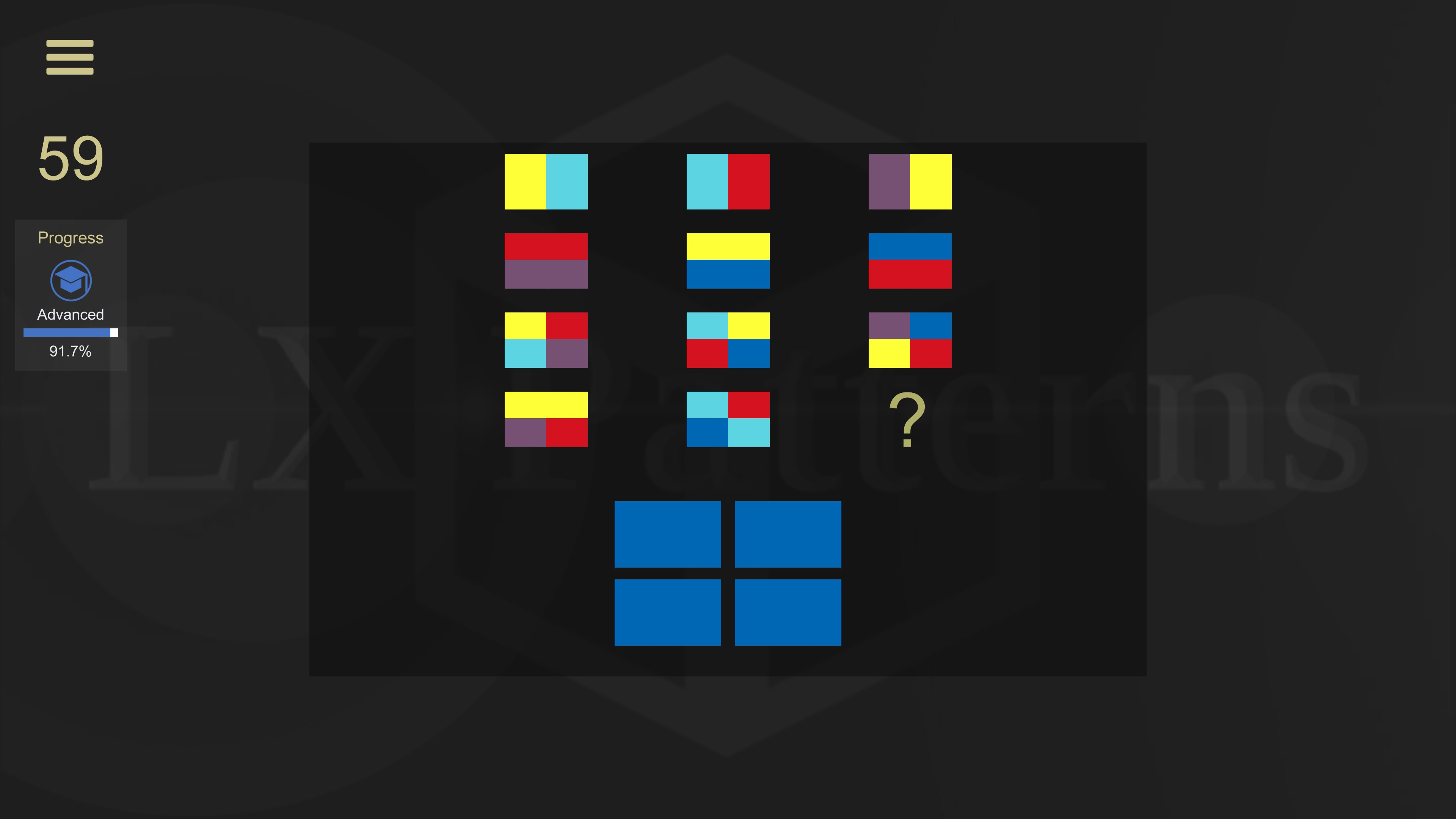 LX Patterns. Level 59 advanced puzzle. 11 colored flags are shown, the player must provide what the 12th flag would be.