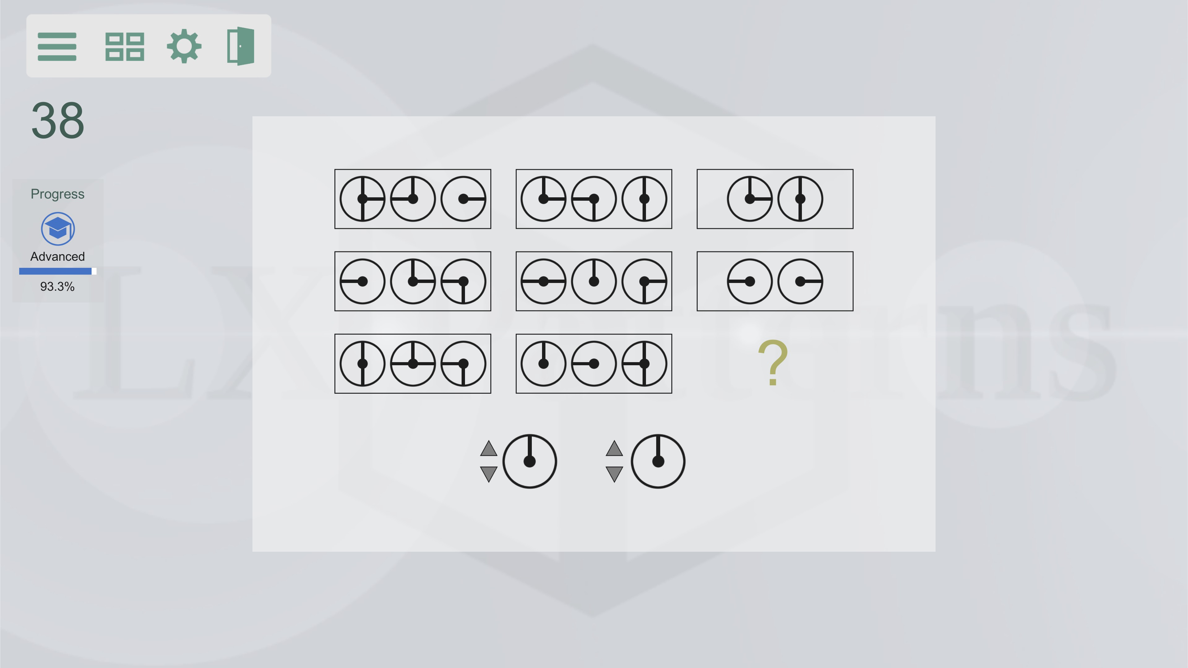 LX Patterns. Level 38 intermediate puzzle. 8 sets of rotating dials are shown, the player must provide what the 9th set would be. The background here is white instead of black like other images.