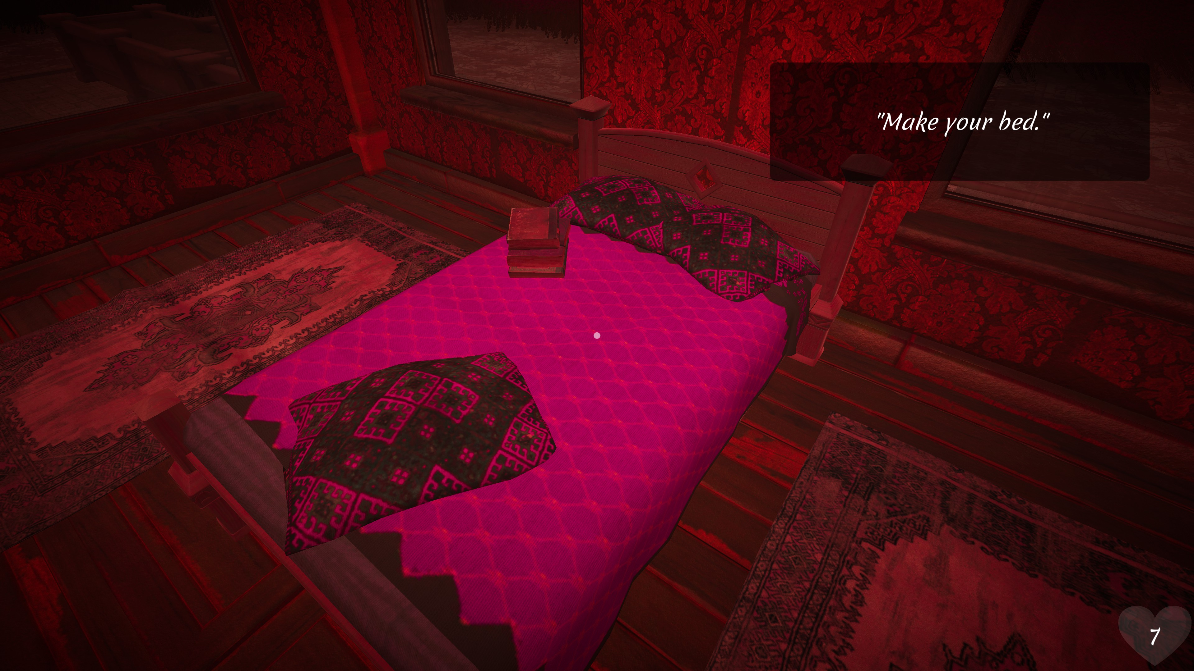 Dear Mom. Image of a purple bed in a red room with a quote in the top right corner saying: Make your bed.