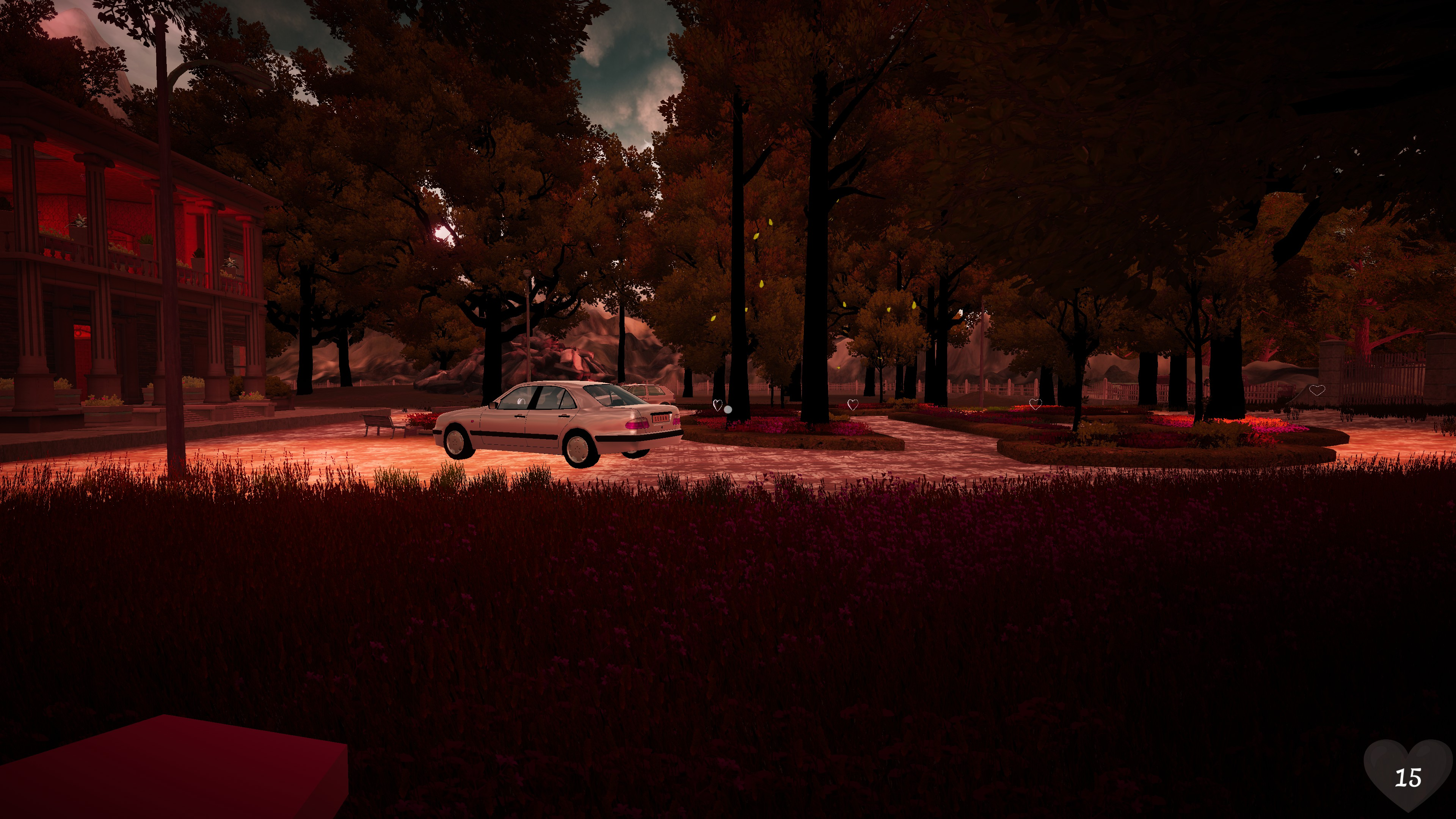 Dear Mom. A view of a driveway with trees in soft red light. Floating silver hearts lead through it.