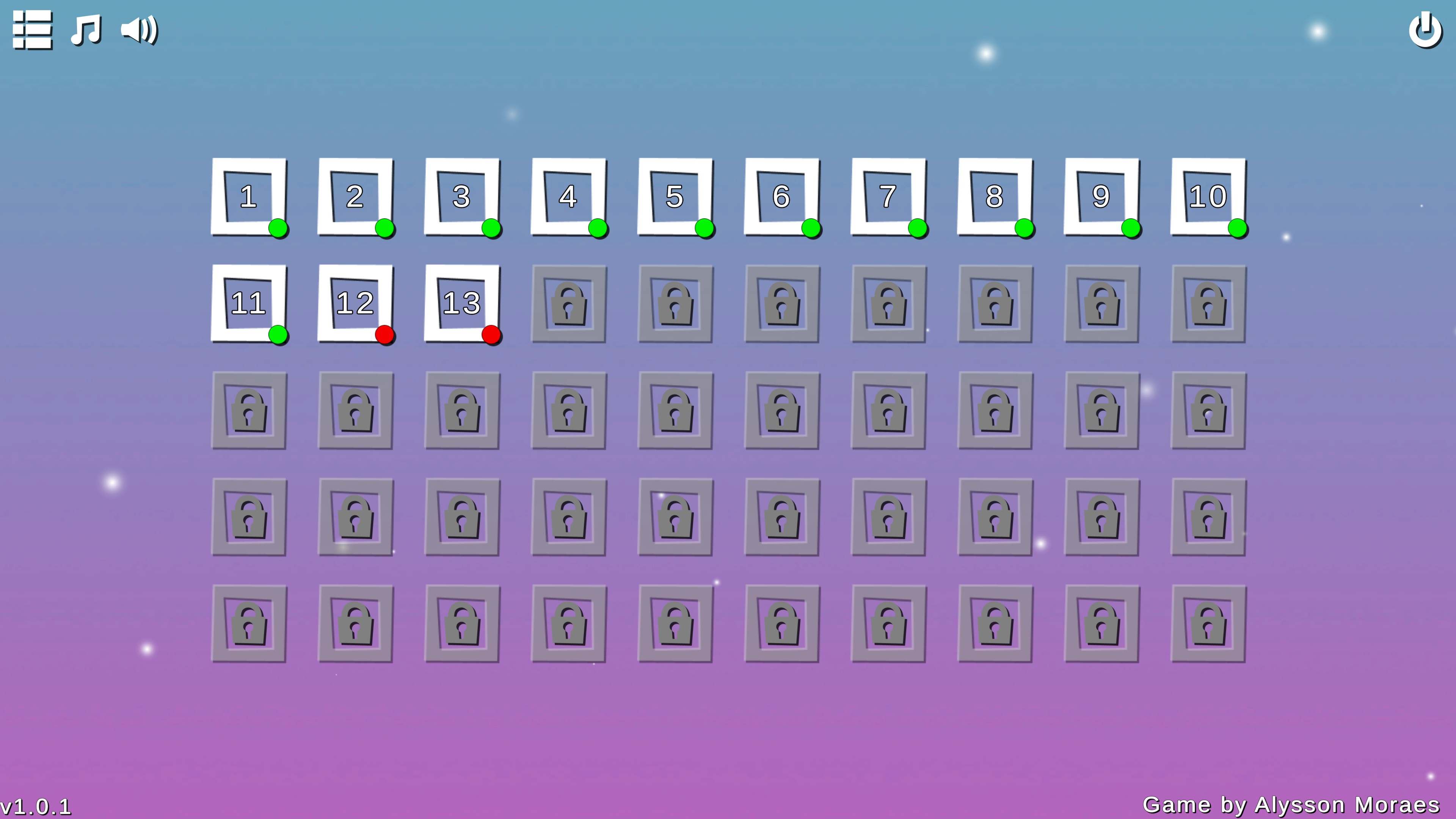 Puzzle Car. Level select showing 50 levels. 13 of them are unlocked and of those 13, 11 have green dots showing they have been completed perfectly.
