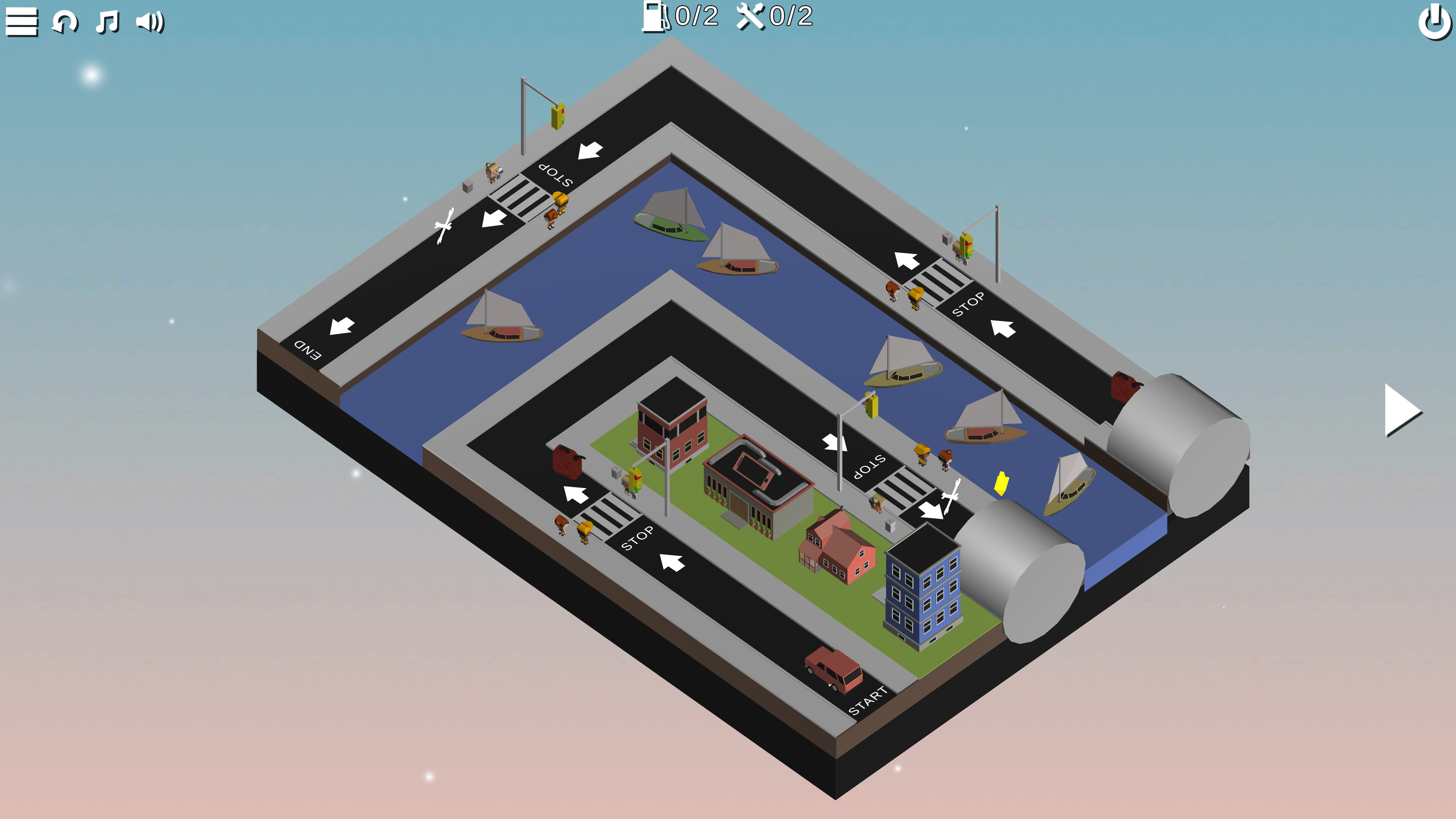Puzzle Car. Level with the board divided by a boat canal. A pair of tunnels are visible across the canal from each other.