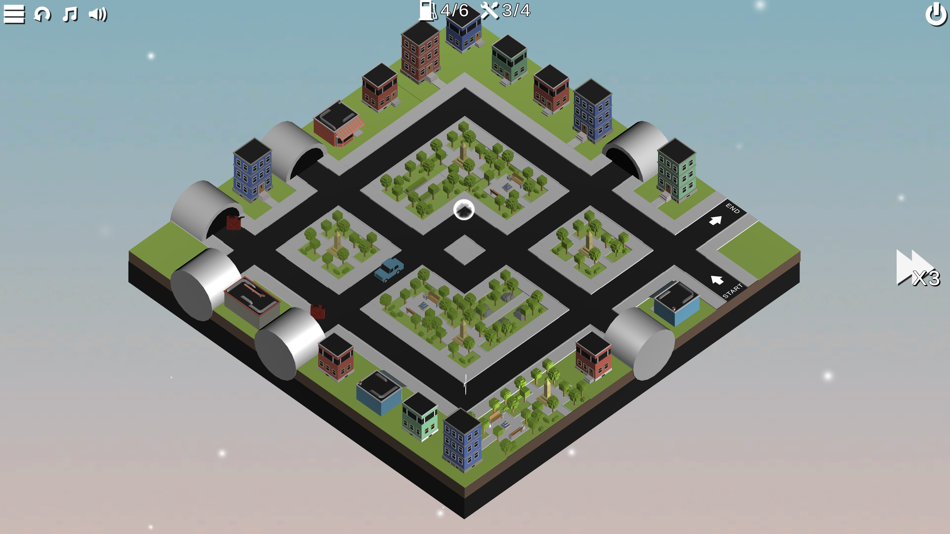 Puzzle Car. A symmetric square city with tunnels on all corners. Buildings border the outside while the center is filled with parks.