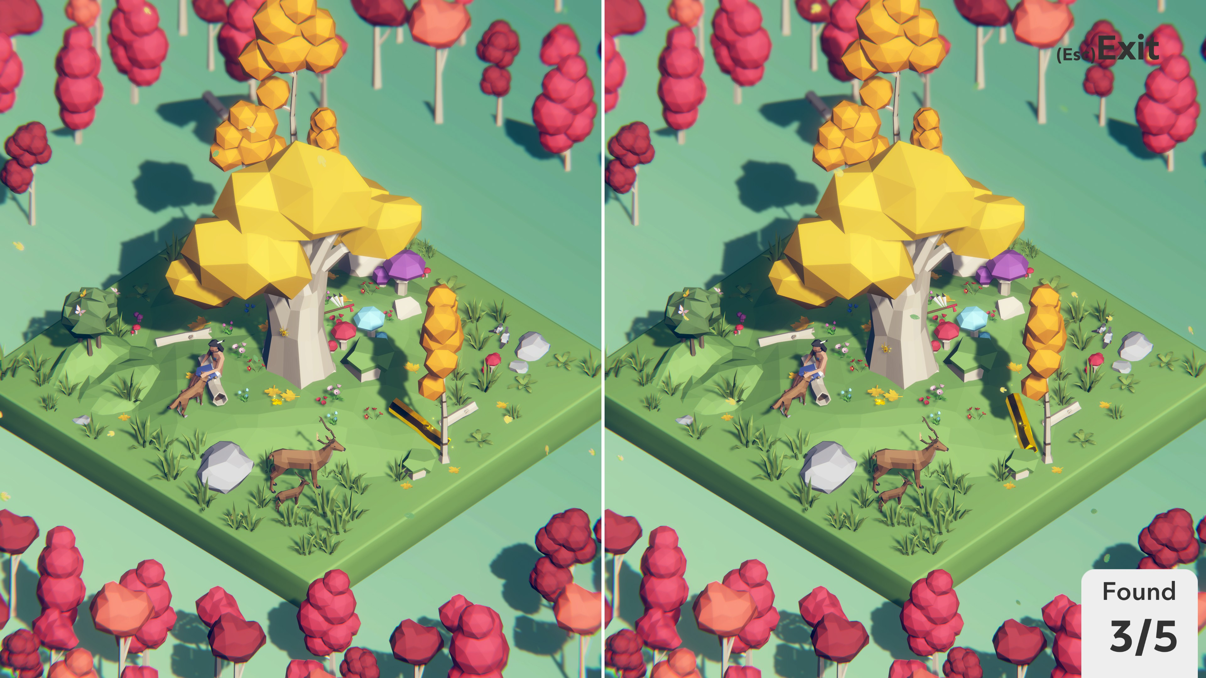 Tiny Lands. Person number a tree petting a dog. A father and baby deer are nearby. The trees are colored for fall and bright mushrooms are beneath the largest tree. 3 out of 5 differences have been found.