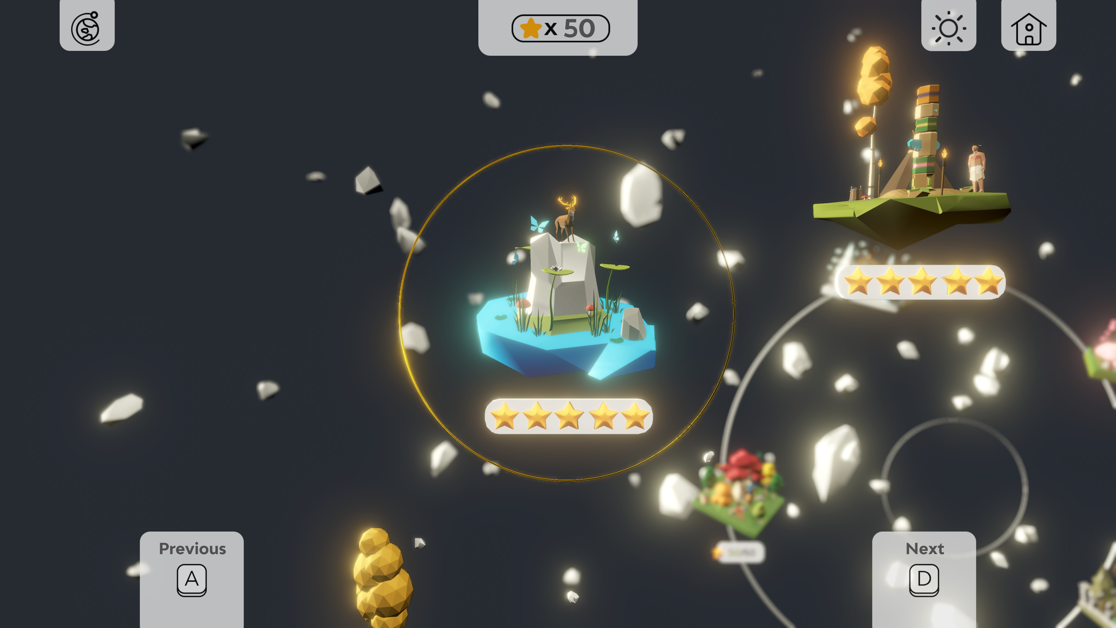 Tiny Lands. Level select showing two levels with perfect 5 stars.