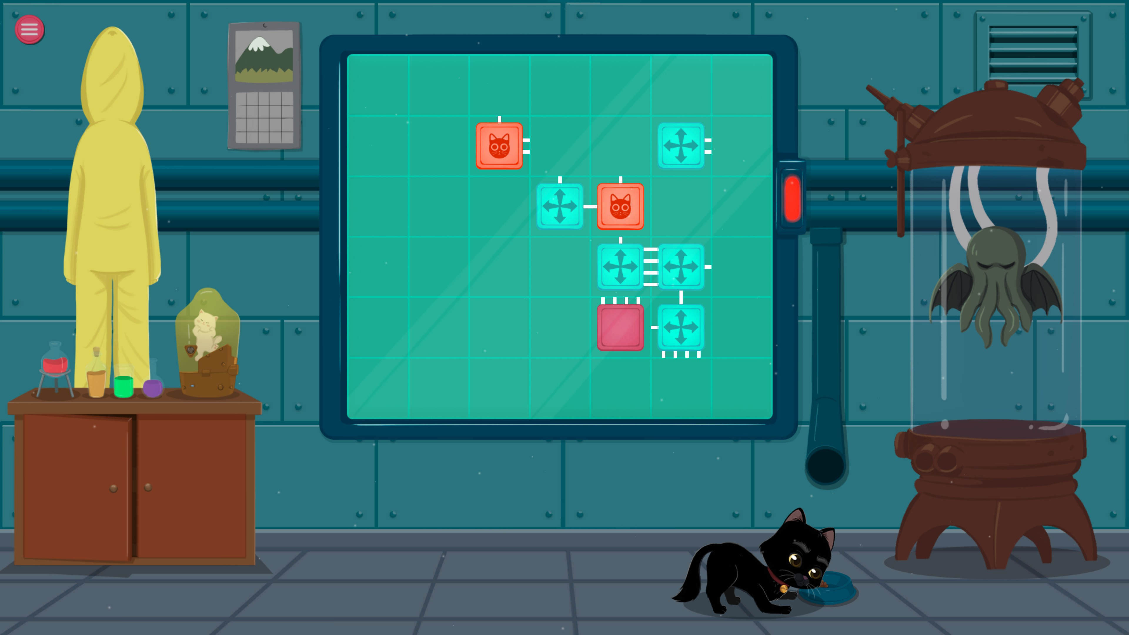 Meow Lab. Level with 7 pieces and 2 piece types. The pieces are close together, but not correctly connected.
