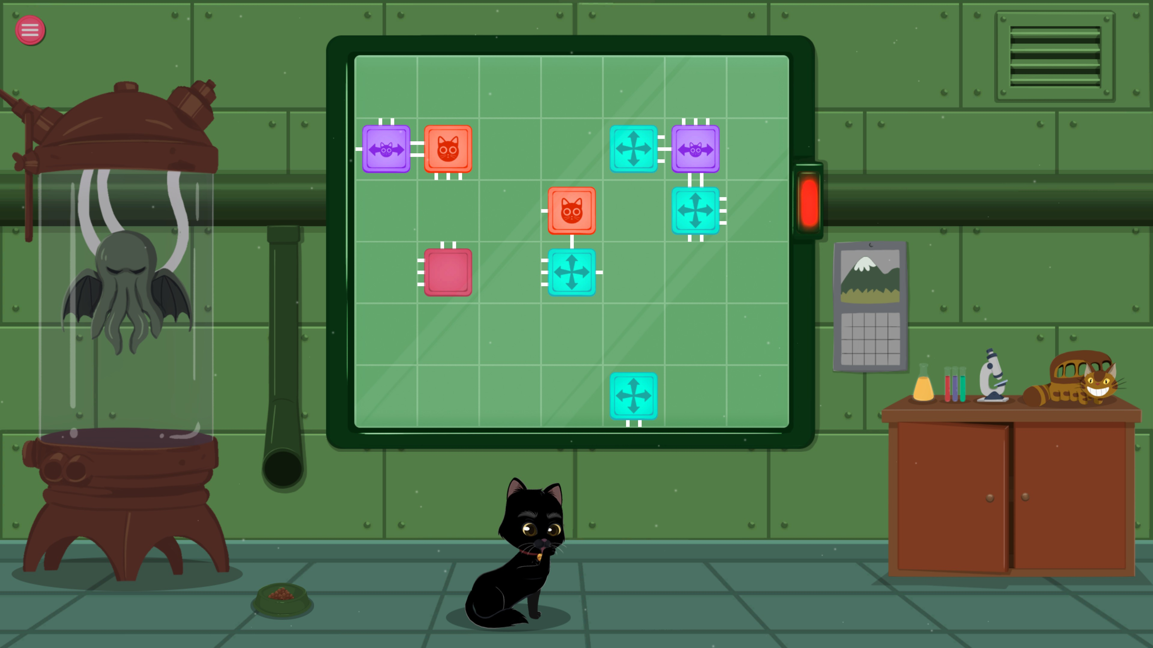 Meow Lab. Level with 8 pieces and 3 piece types.