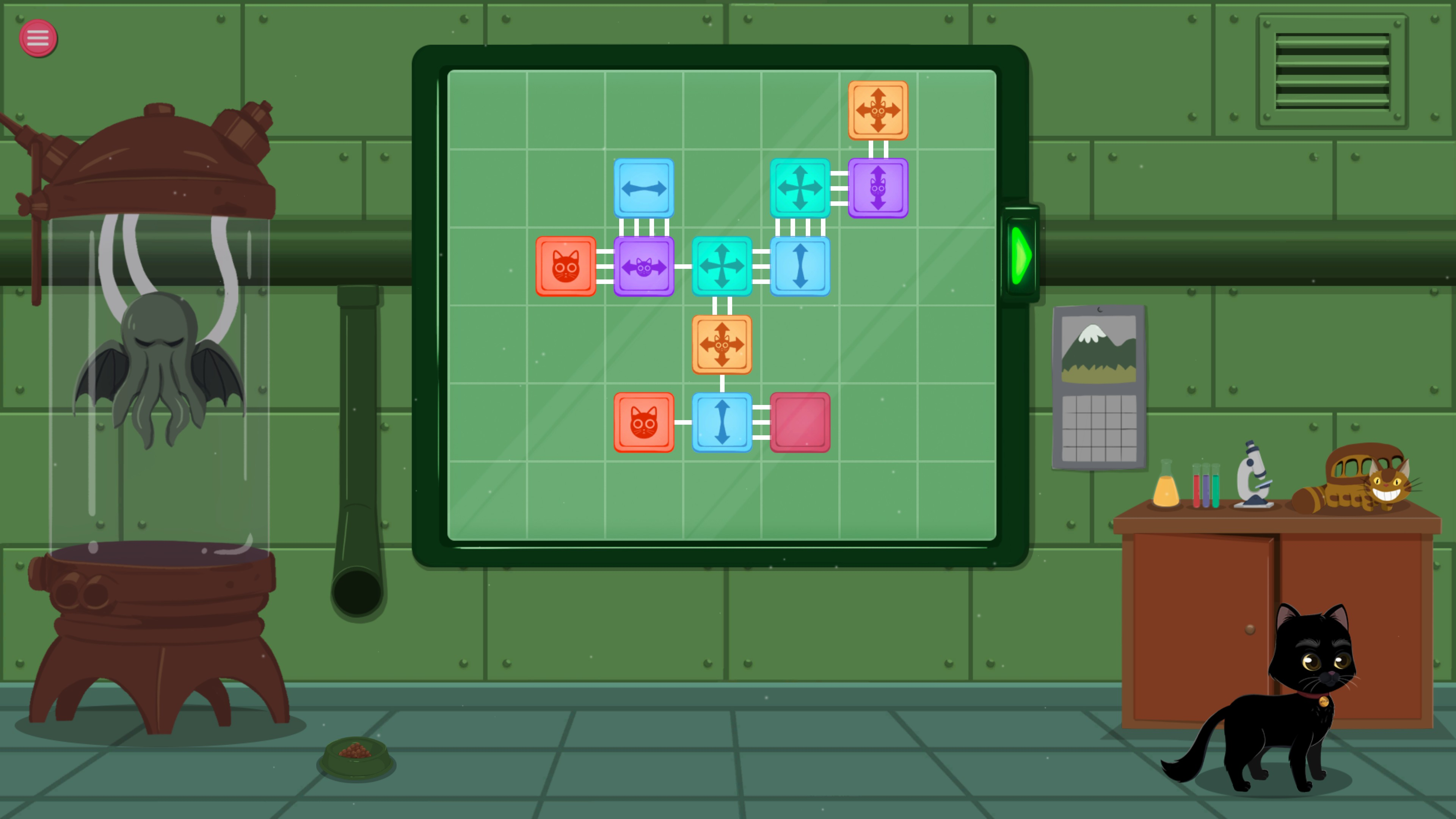 Meow Lab. Level with 11 pieces and 5 piece types, include rotation-only and slide-only pieces.