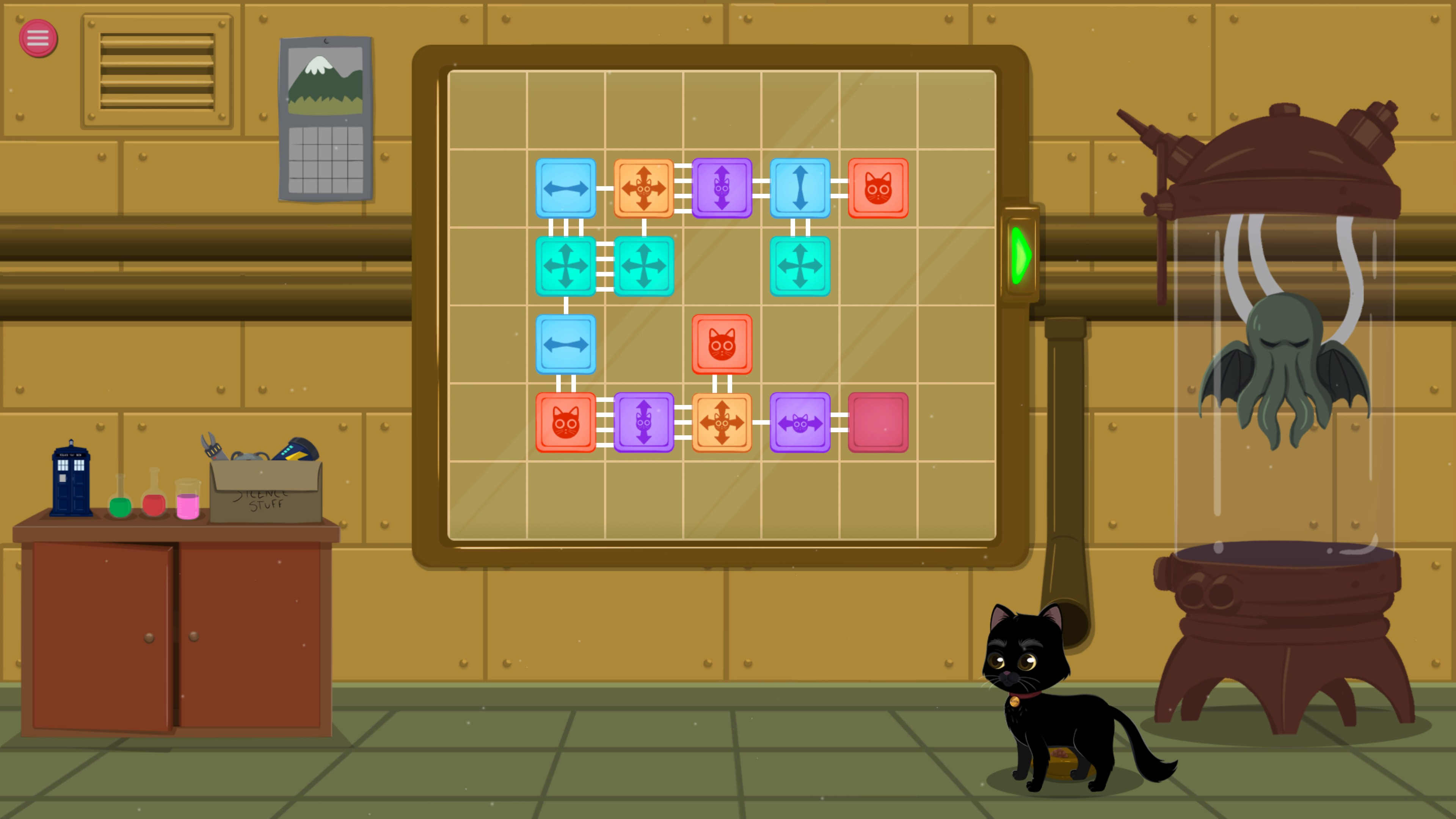 Meow Lab. Leve with 14 pieces and 5 piece types. There is also a small blue police box figure visible in the background.
