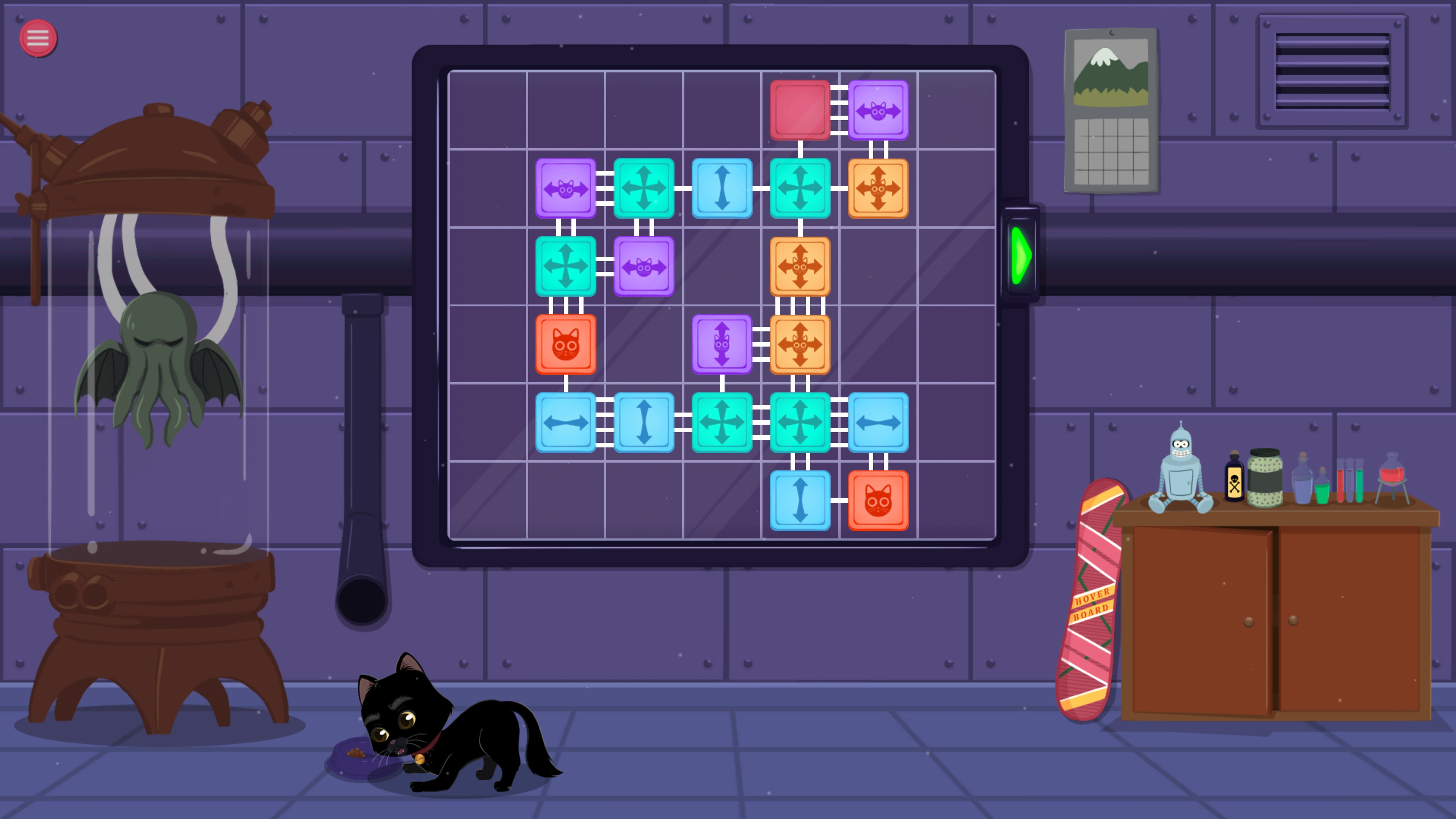 Meow Lab. Level with 20 pieces and 5 piece types. The final design is a pseudo-symmetric pattern of squares.