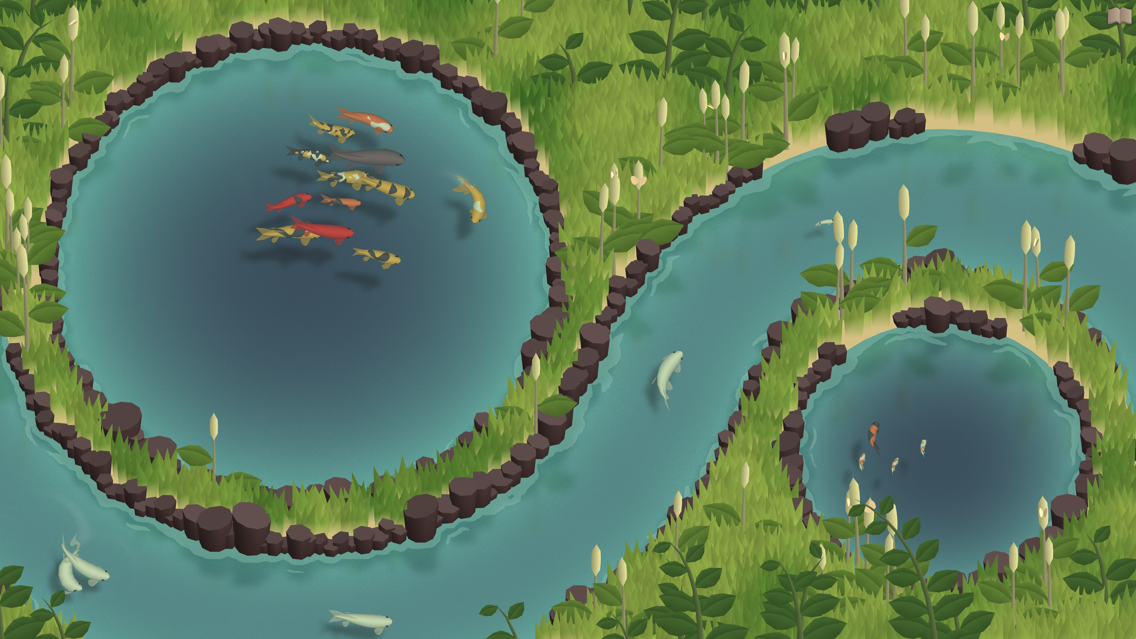 Koi Farm. Two ponds separated by a stream, all containing koi. The colors shown include white, black, yellow, orange, red, and grey in a variety of patterns.