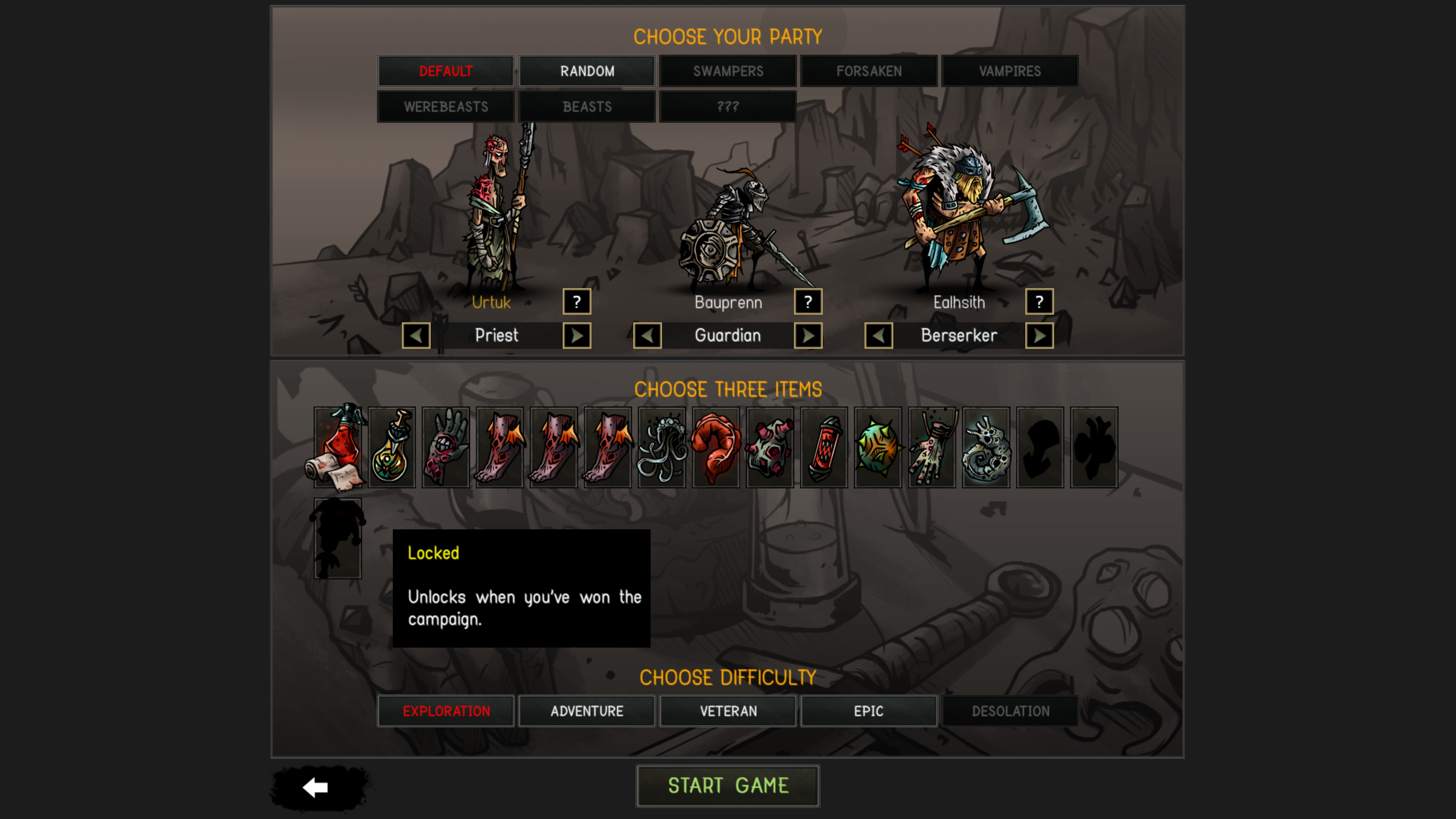 Urtuk  The Desolation. Party selection screen showing 7 factions, 3 characters, 14 starting item options, and 5 difficulties. One locked item is highlighted and show the text: unlocks when you've won the campaign.